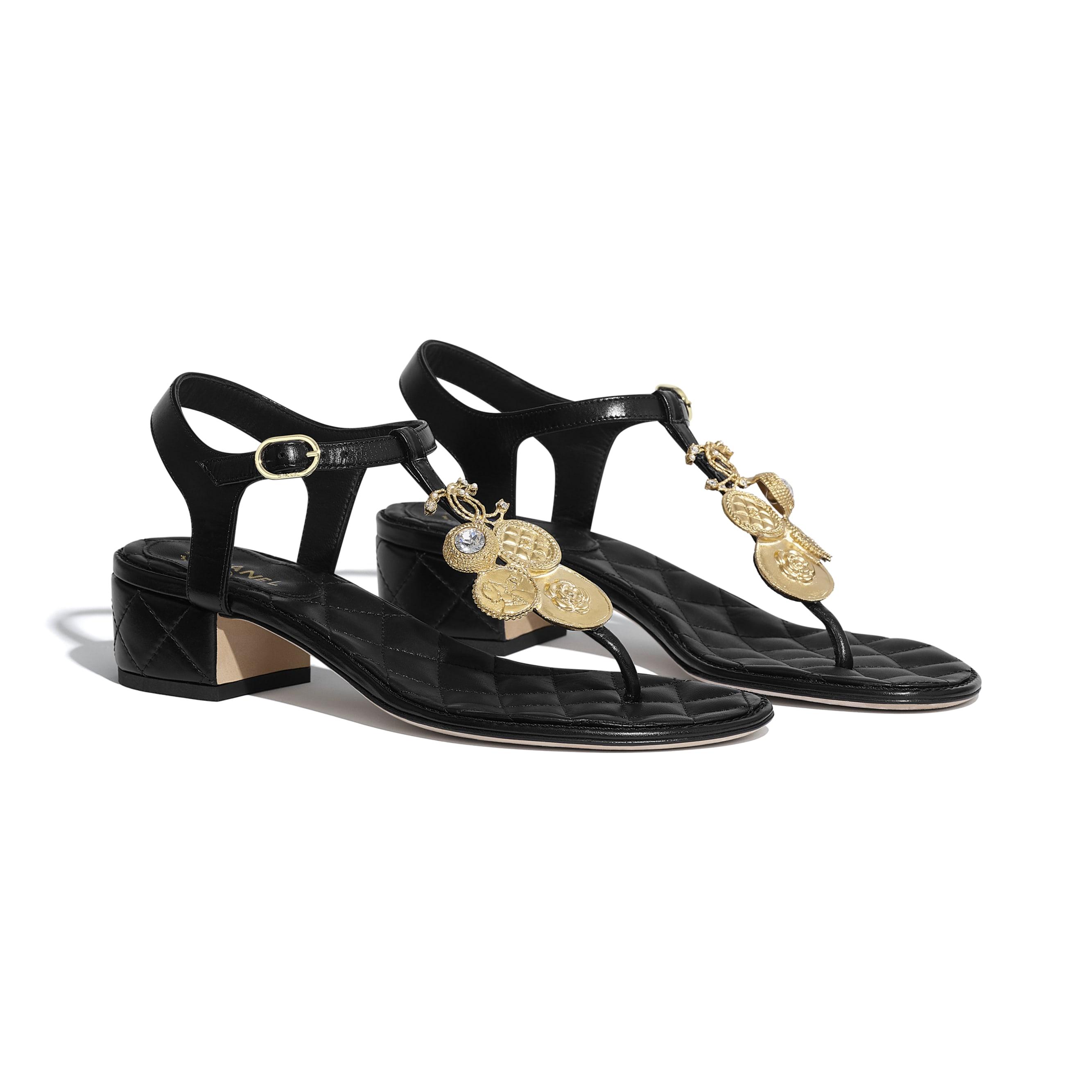 Sandals - Black - Calfskin - CHANEL - Alternative view - see standard sized version