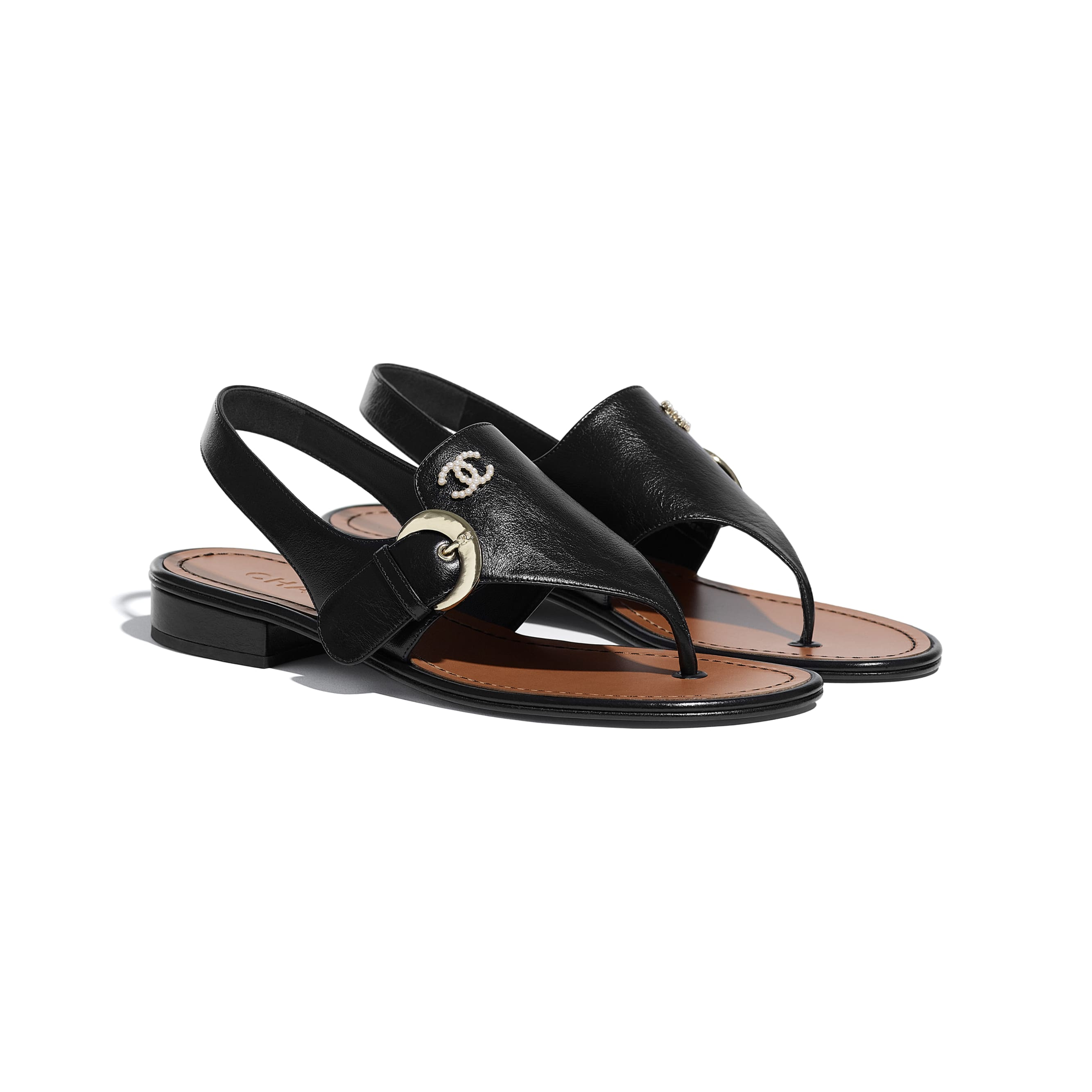 Sandals - Black - Calfskin - CHANEL - Alternative view - see standard sized version