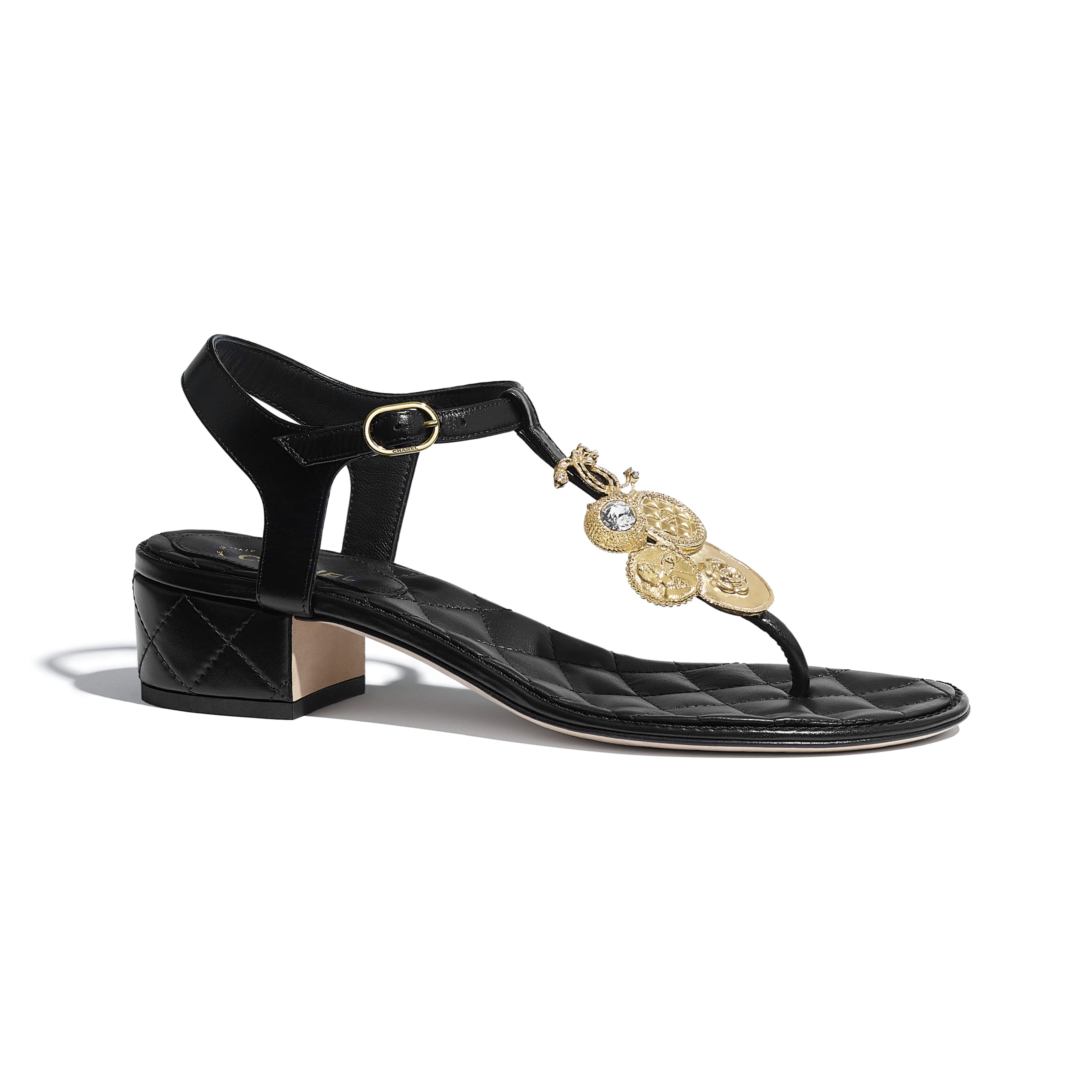 Sandals - Black - Calfskin - CHANEL - Default view - see standard sized version