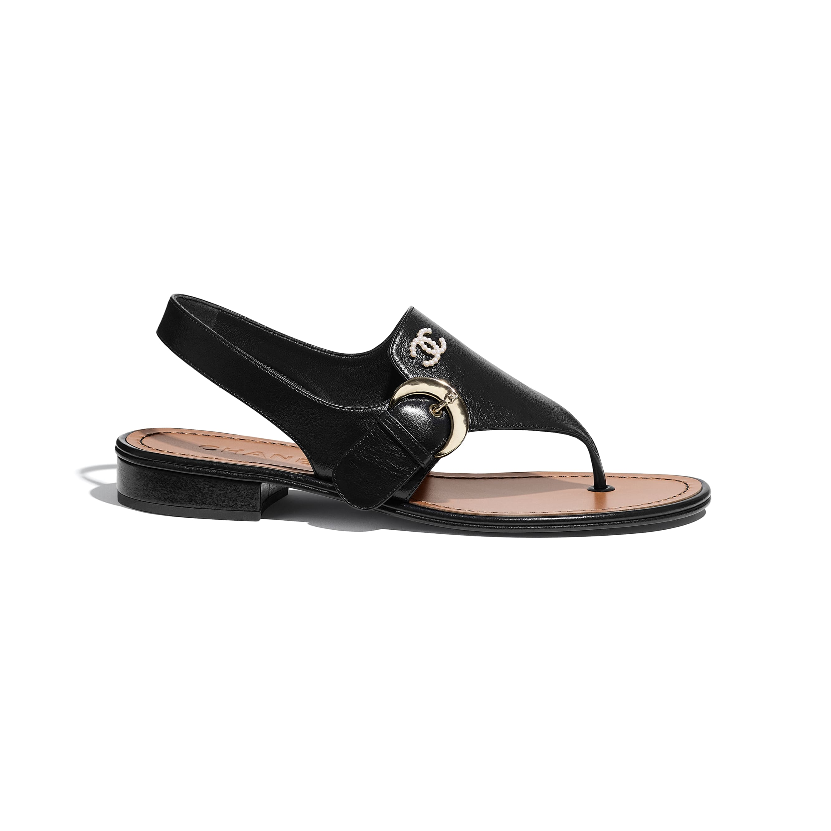 Sandals - Black - Calfskin - CHANEL - Default view - see standard sized version