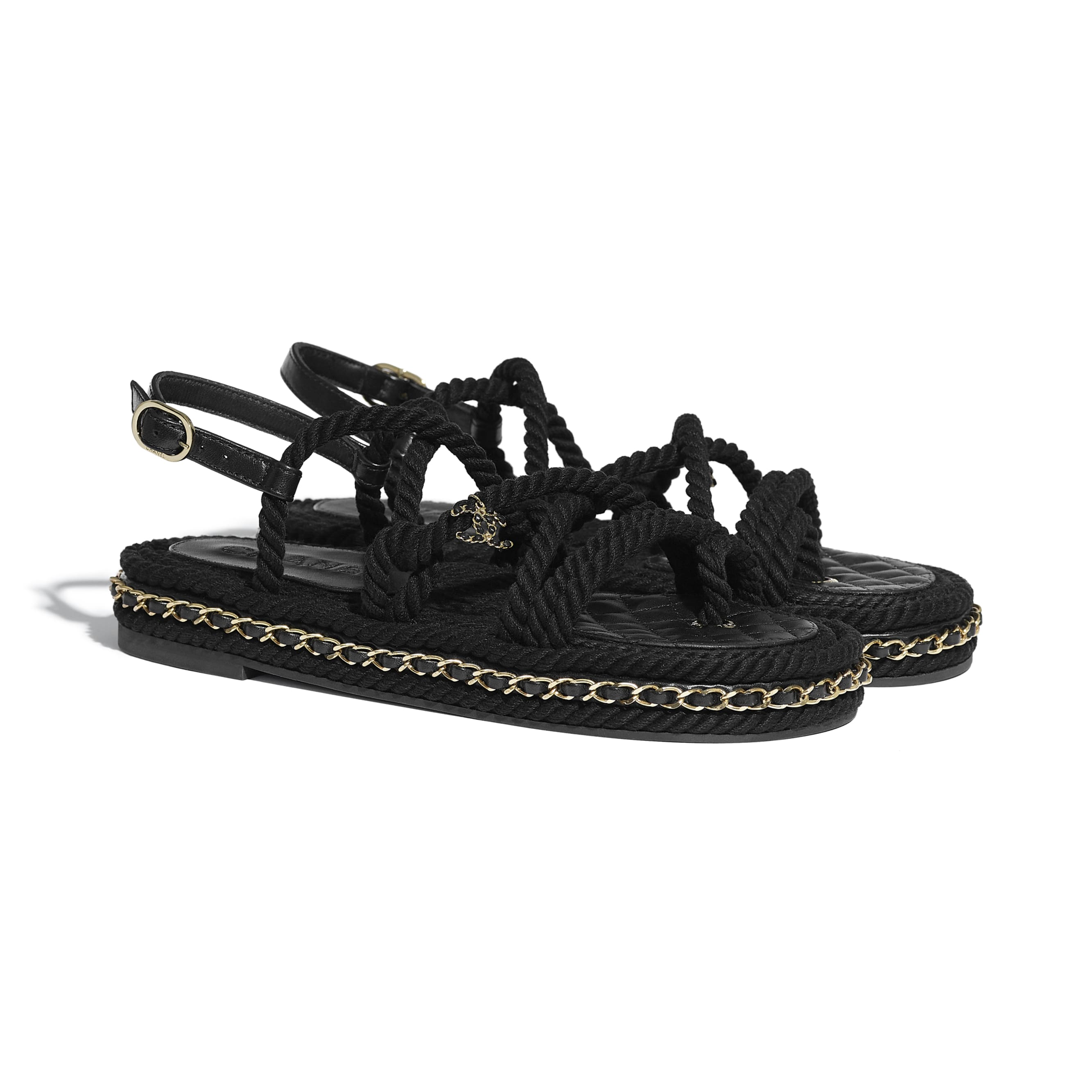 Sandals - Black - Cord - CHANEL - Alternative view - see standard sized version