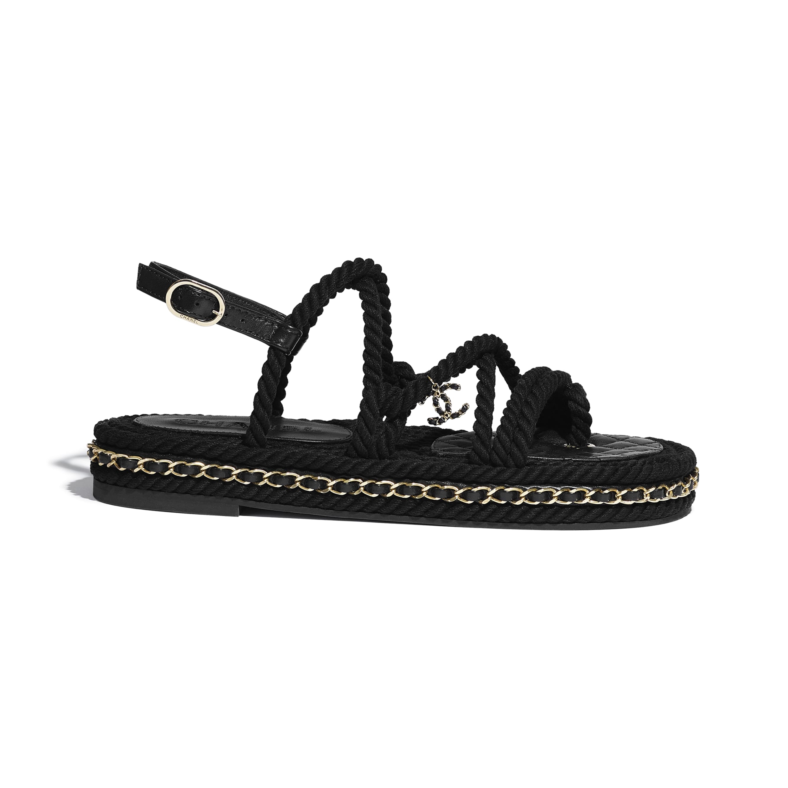 Sandals - Black - Cord - CHANEL - Default view - see standard sized version