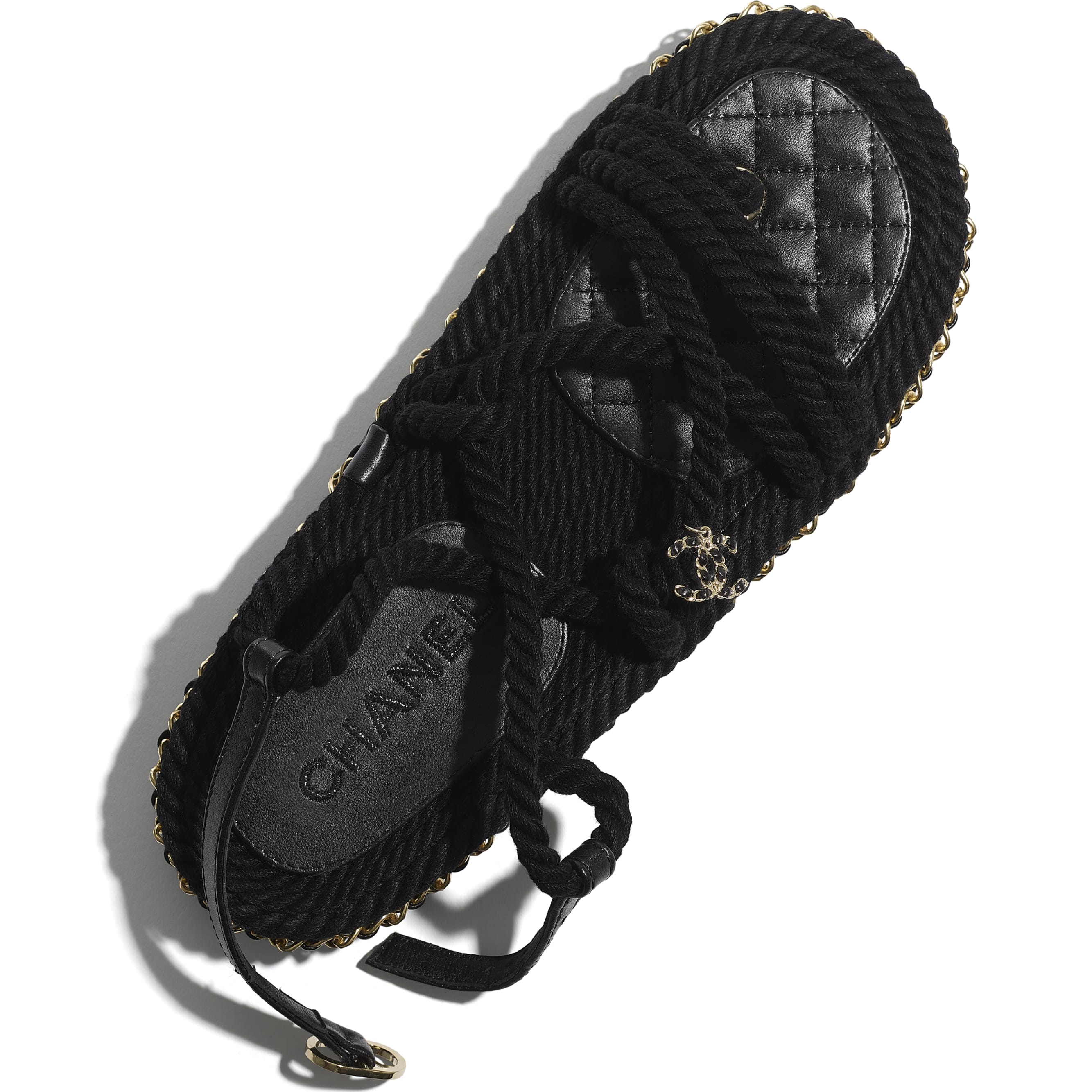 Sandals - Black - Cord - CHANEL - Extra view - see standard sized version