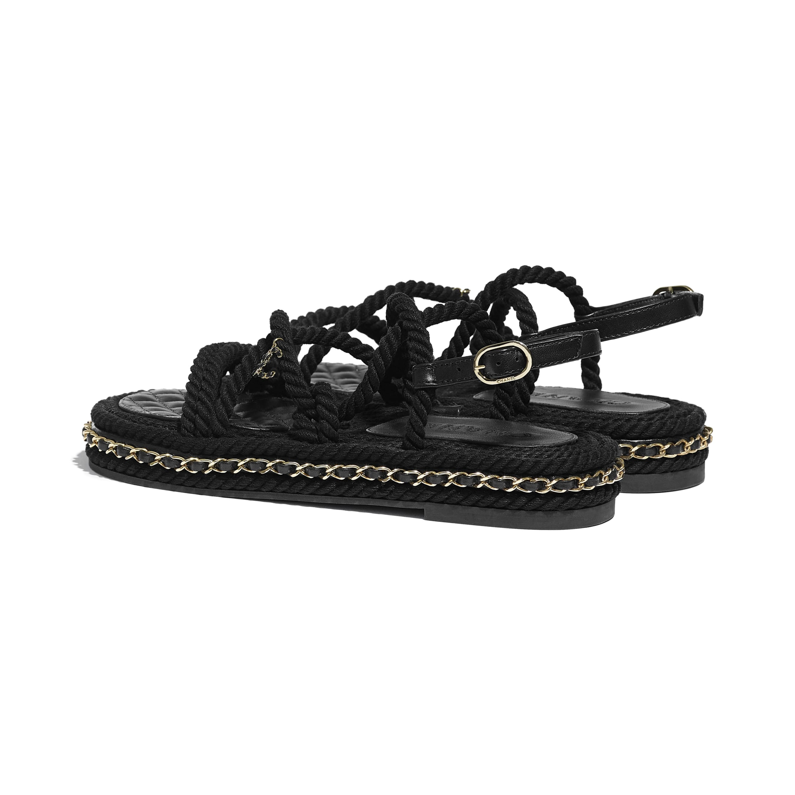 Sandals - Black - Cord - CHANEL - Other view - see standard sized version