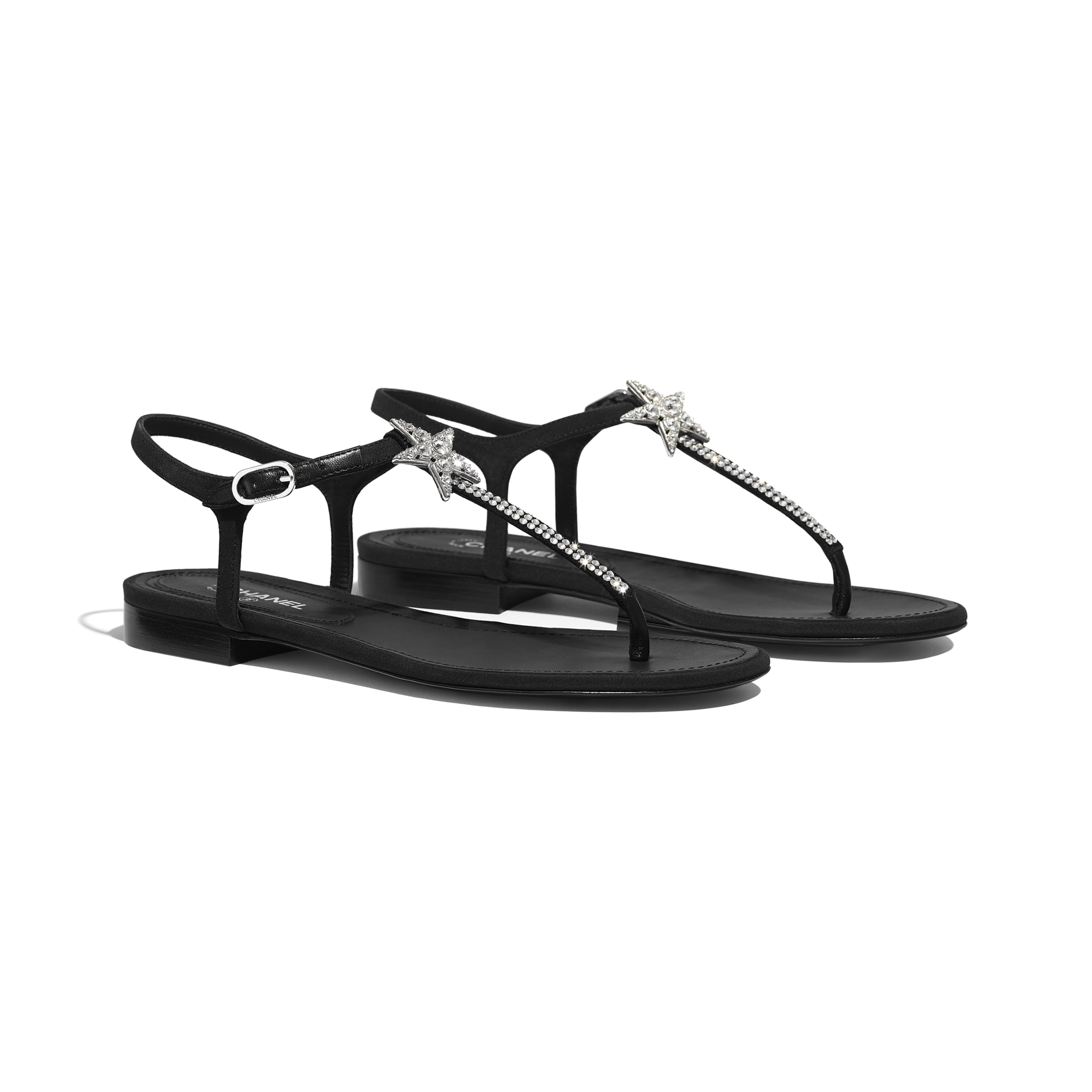 Sandals - Black - Crepe De Chine - CHANEL - Alternative view - see standard sized version