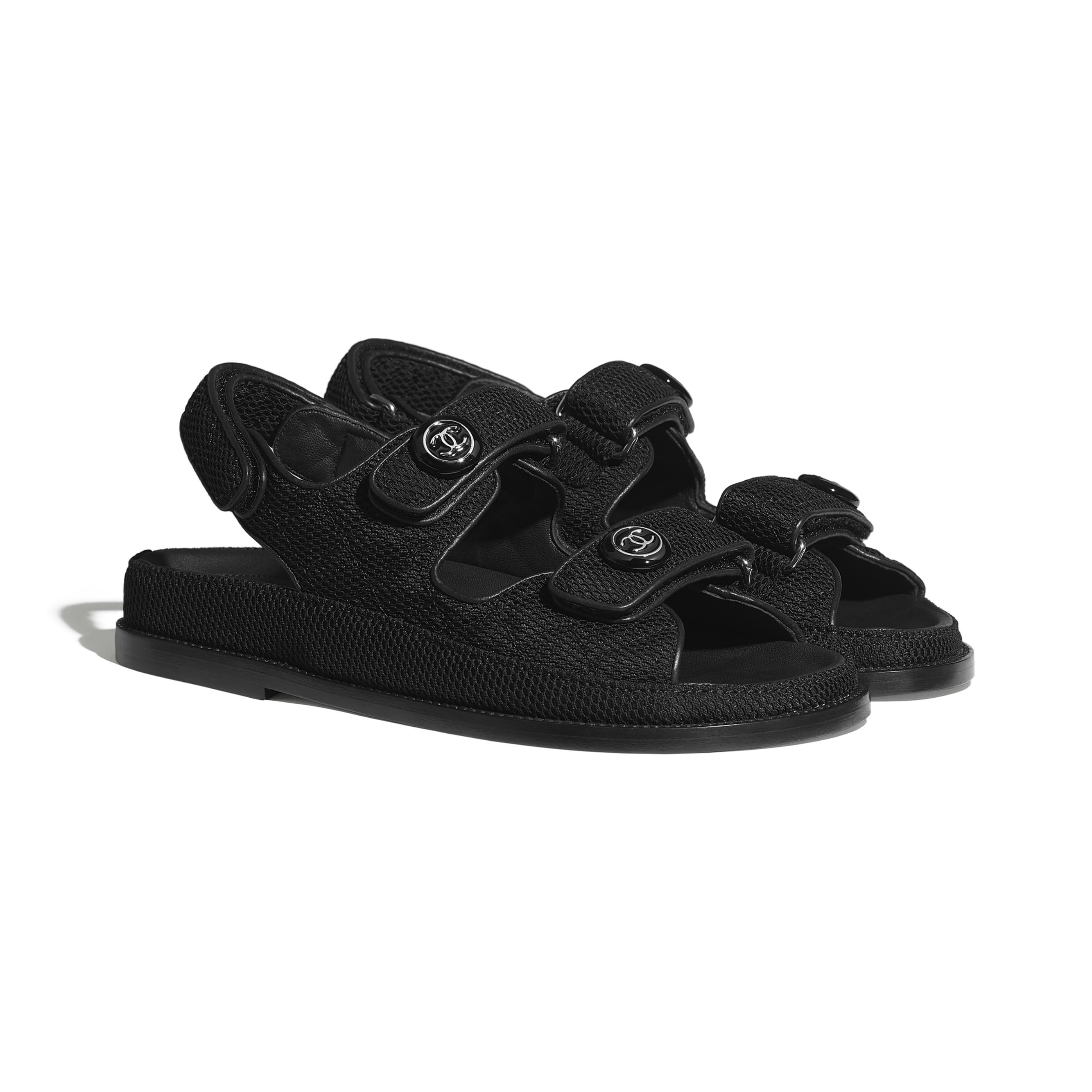 Sandals - Black - Fabric - CHANEL - Alternative view - see standard sized version