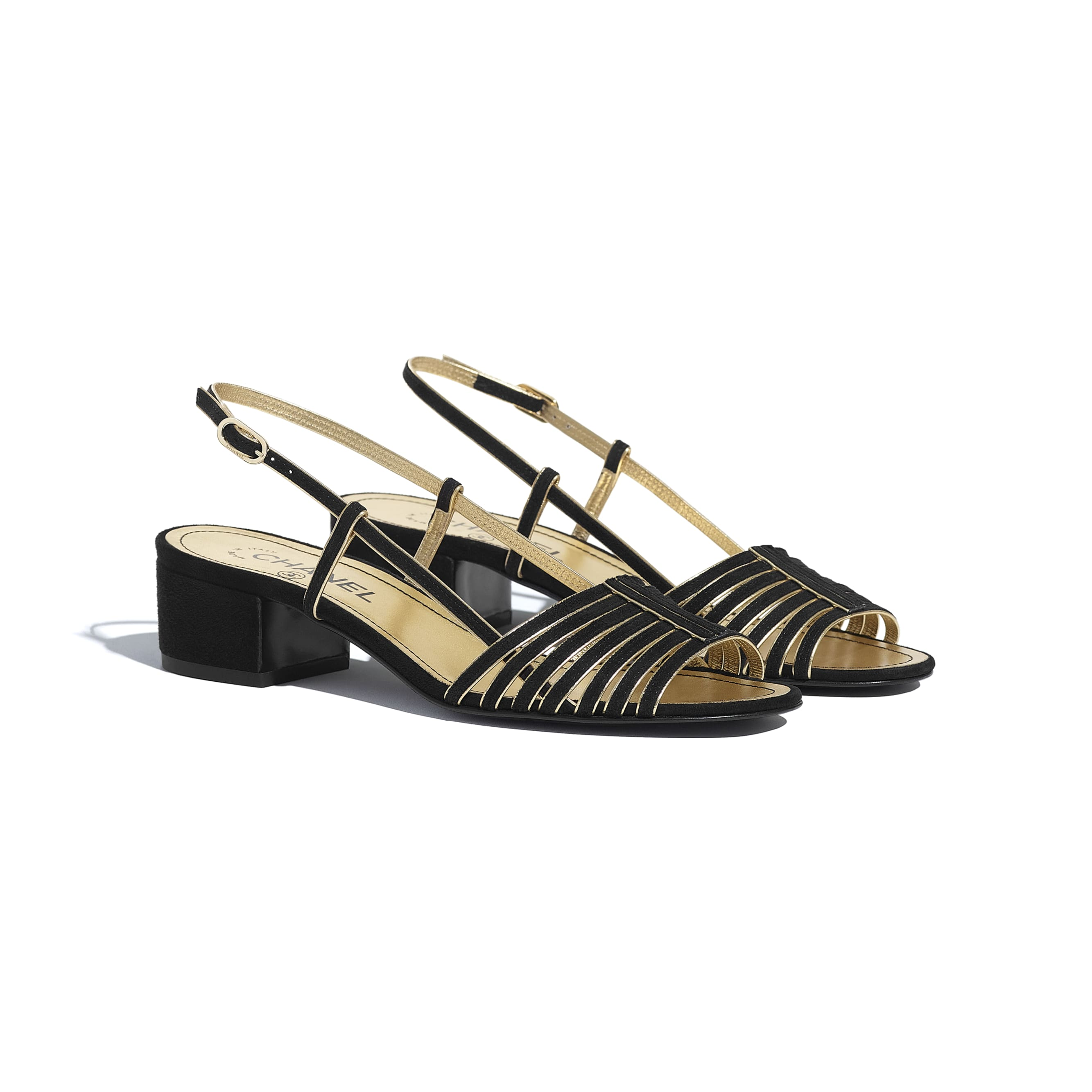 Sandals - Black & Gold - Suede Kidskin - CHANEL - Alternative view - see standard sized version