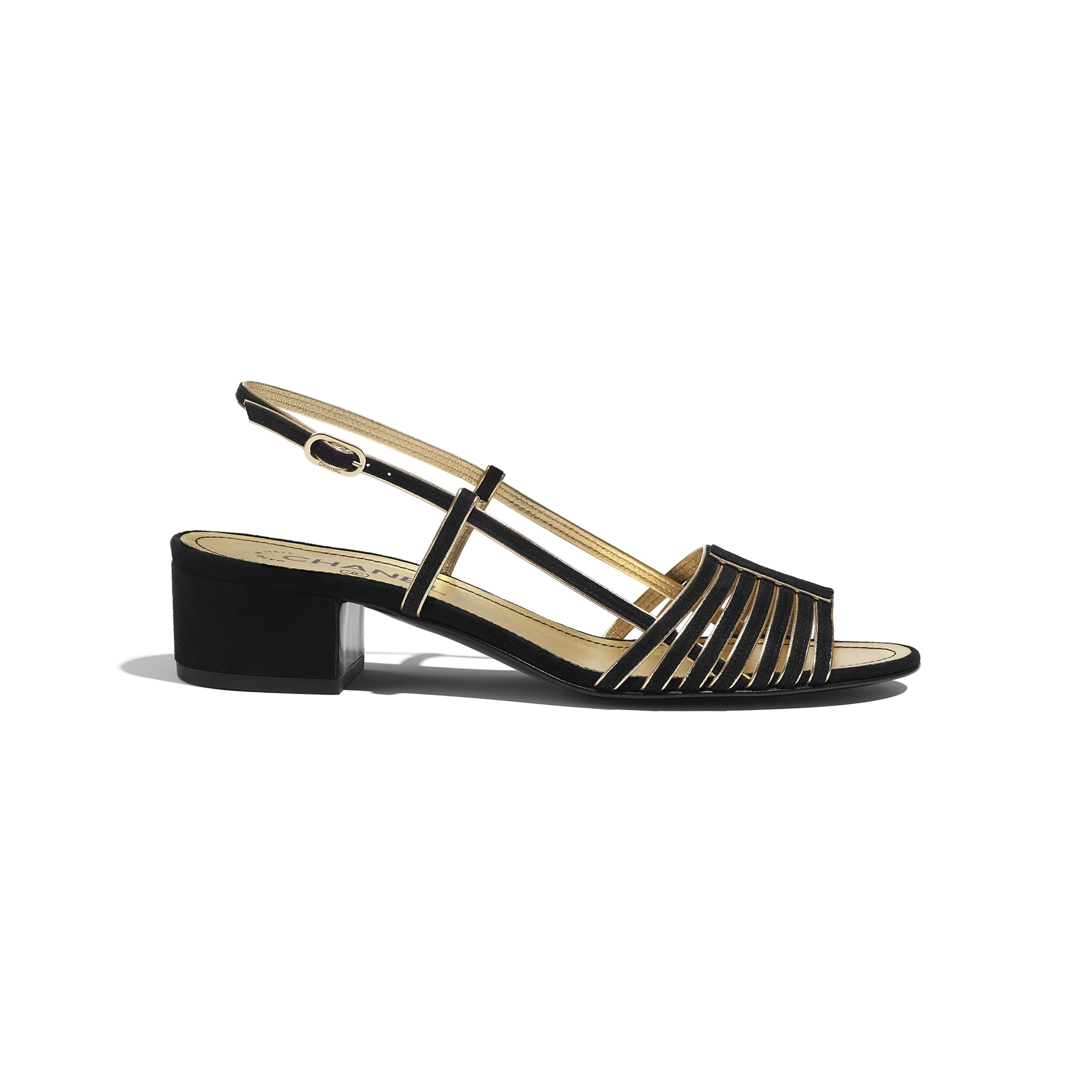 Sandals - Black & Gold - Suede Kidskin - CHANEL - Default view - see standard sized version