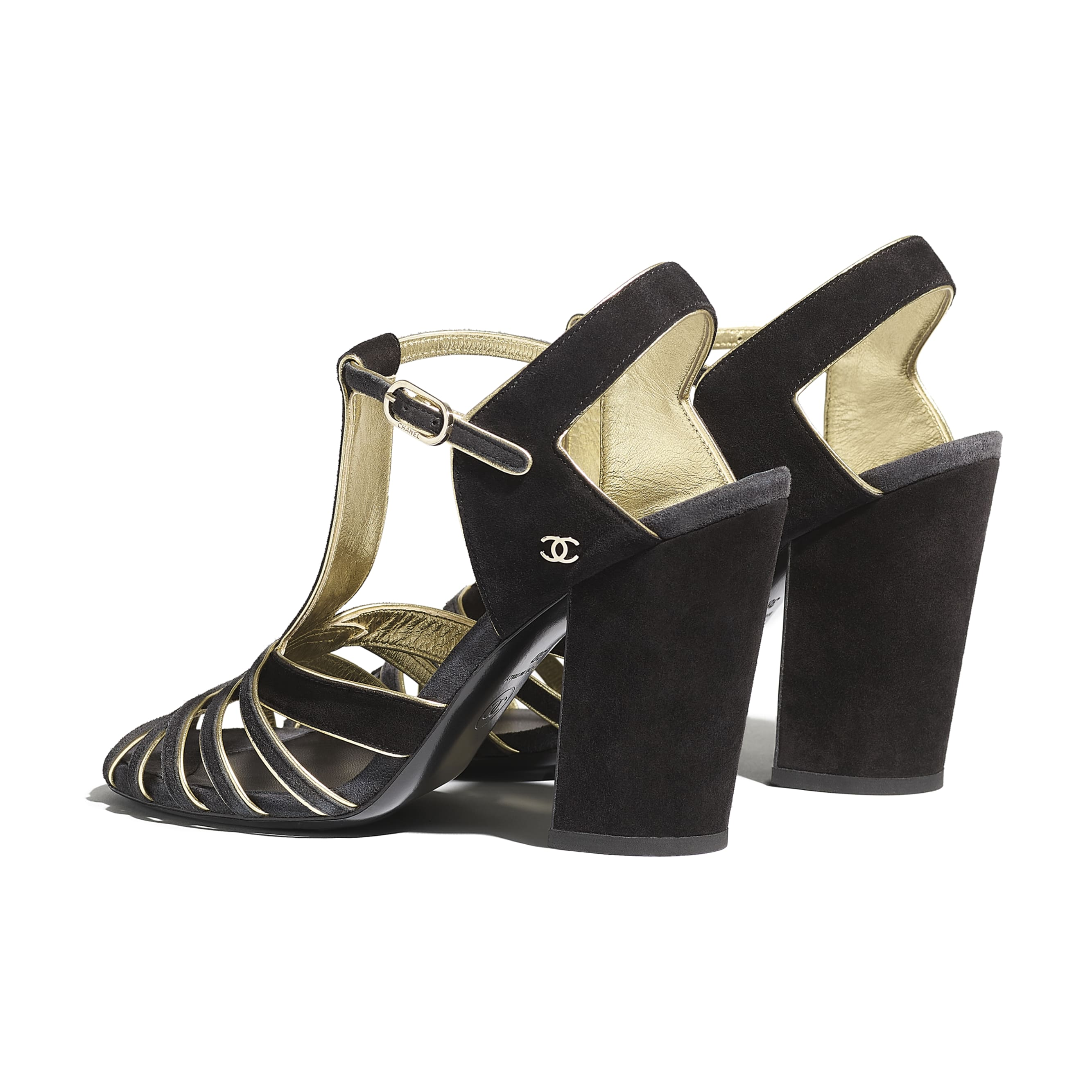 Sandals - Black & Gray - Suede Calfskin - Other view - see standard sized version