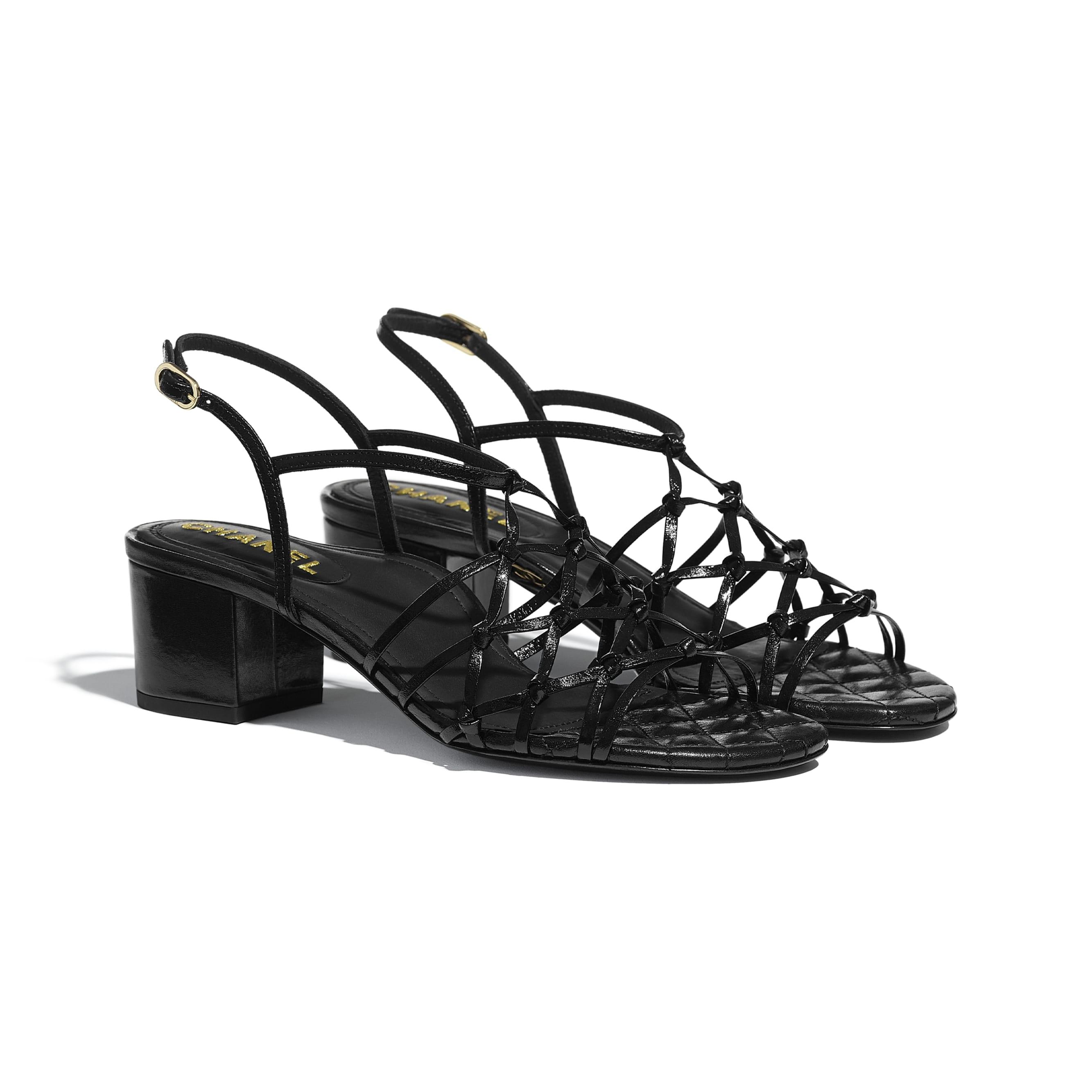 Sandals - Black - Iridescent Calfskin - CHANEL - Alternative view - see standard sized version