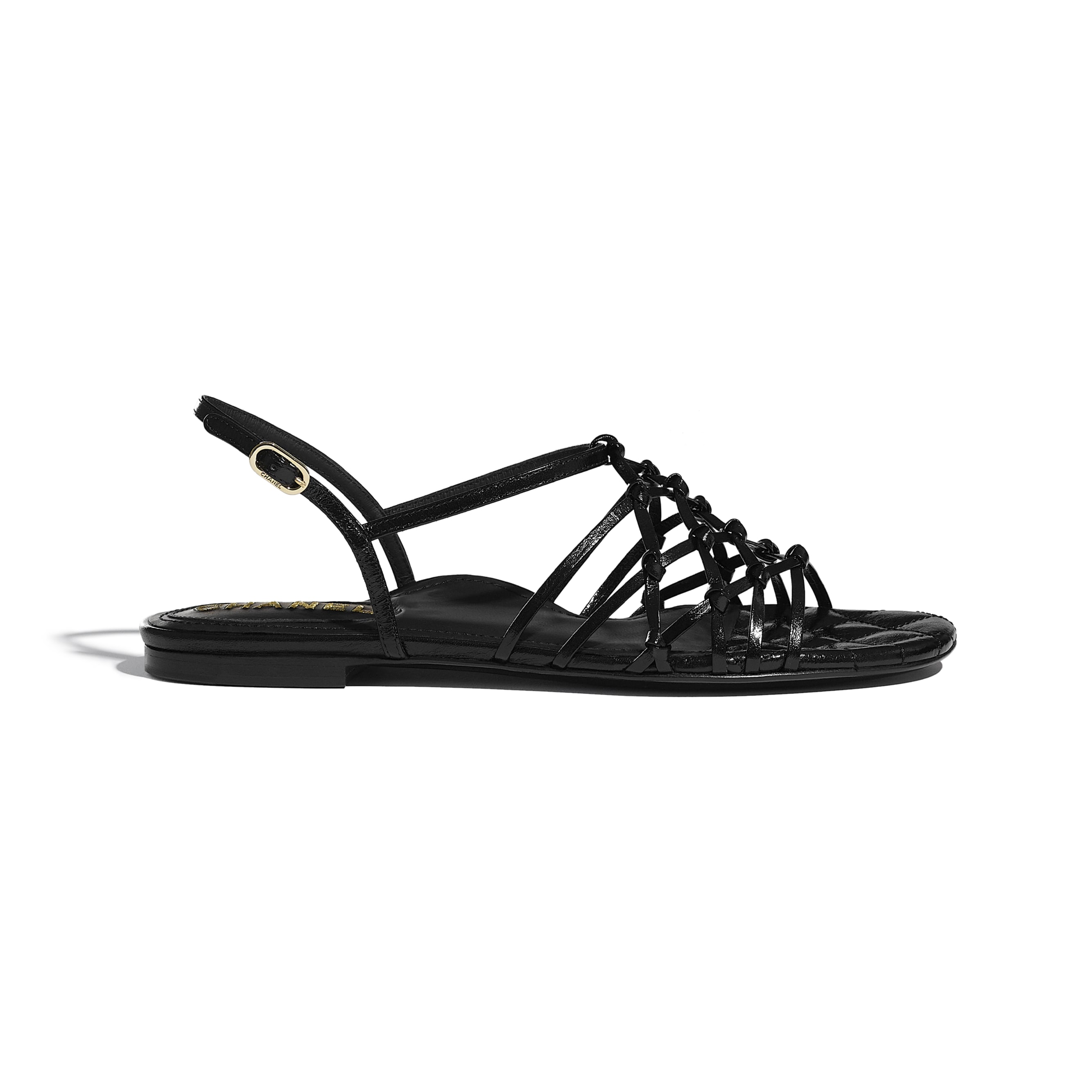 Sandals - Black - Iridescent Calfskin - CHANEL - Default view - see standard sized version
