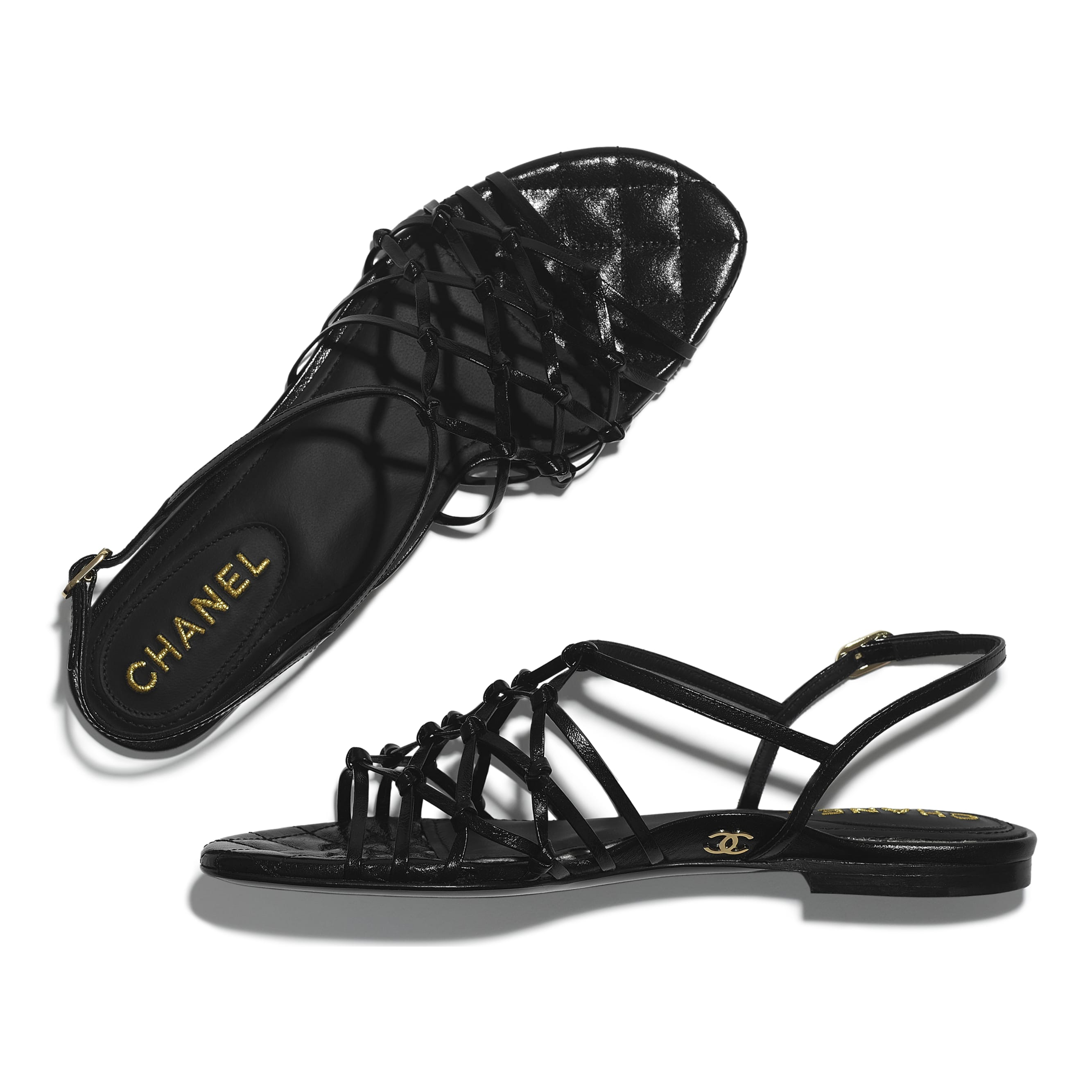 Sandals - Black - Iridescent Calfskin - CHANEL - Extra view - see standard sized version