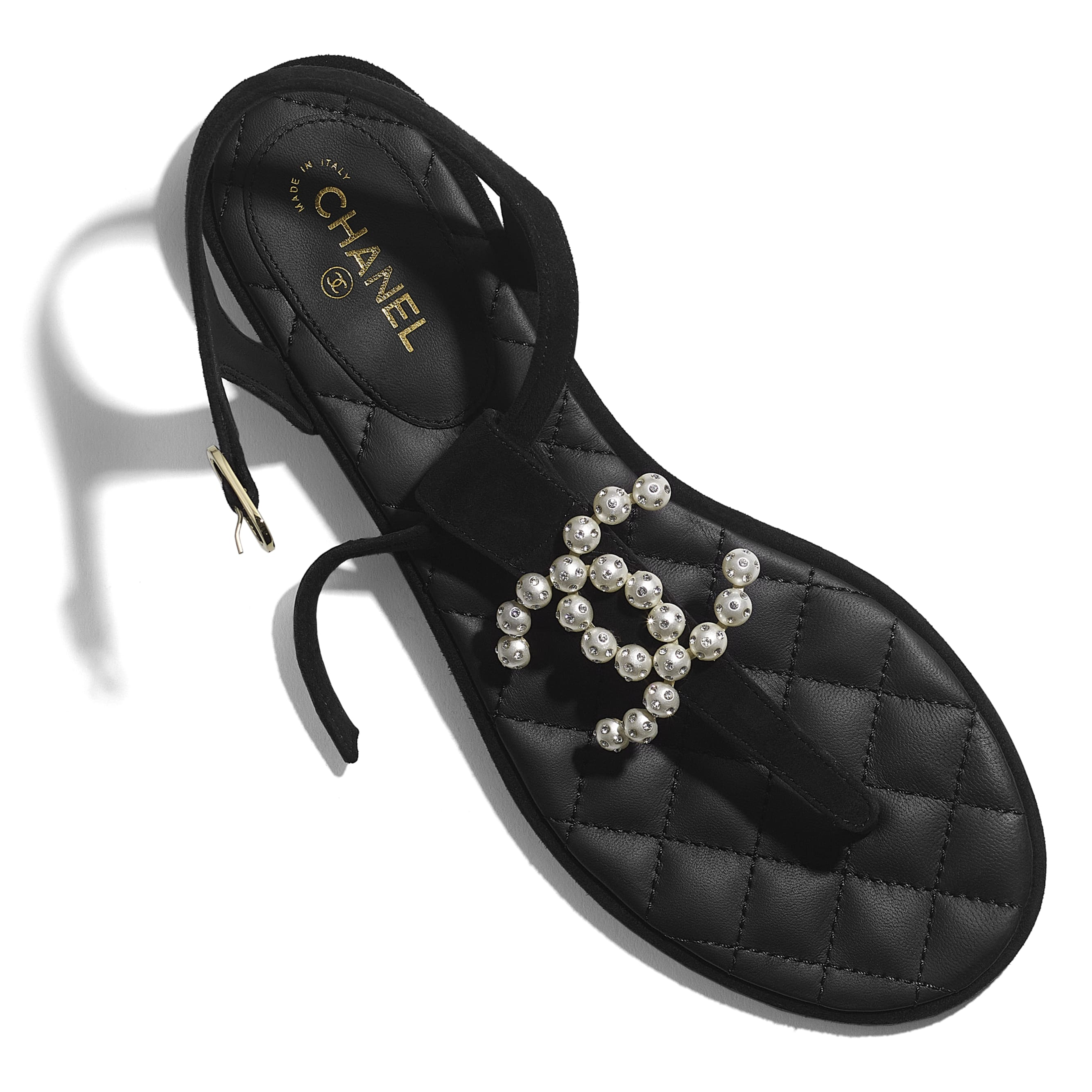 Sandals - Black - Kid Suede & Jewellery - CHANEL - Extra view - see standard sized version