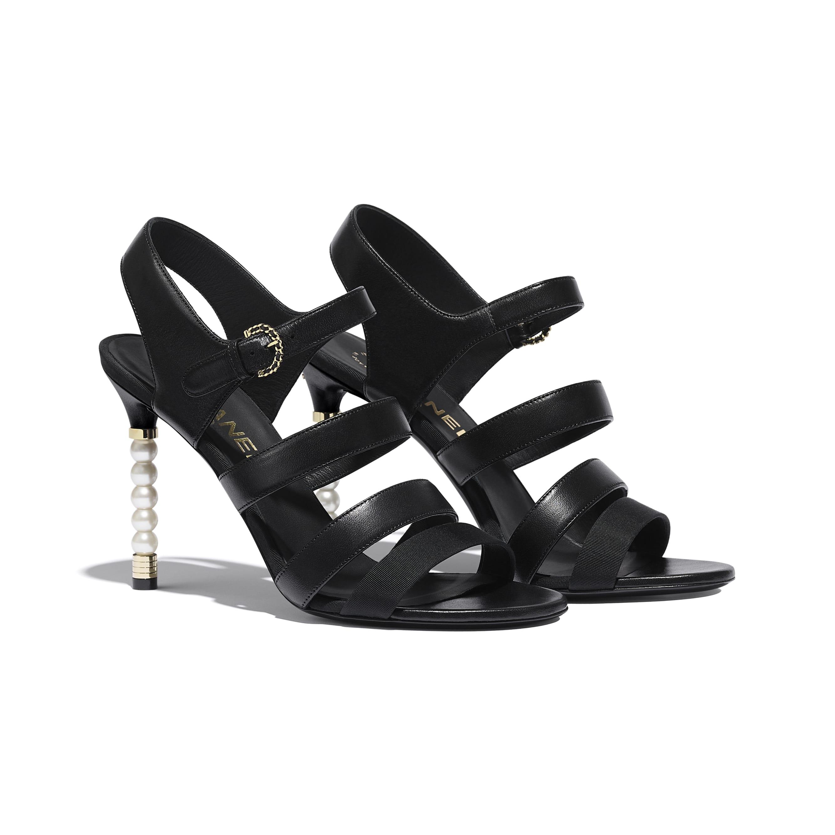 Sandals - Black - Lambskin & Grosgrain - CHANEL - Alternative view - see standard sized version