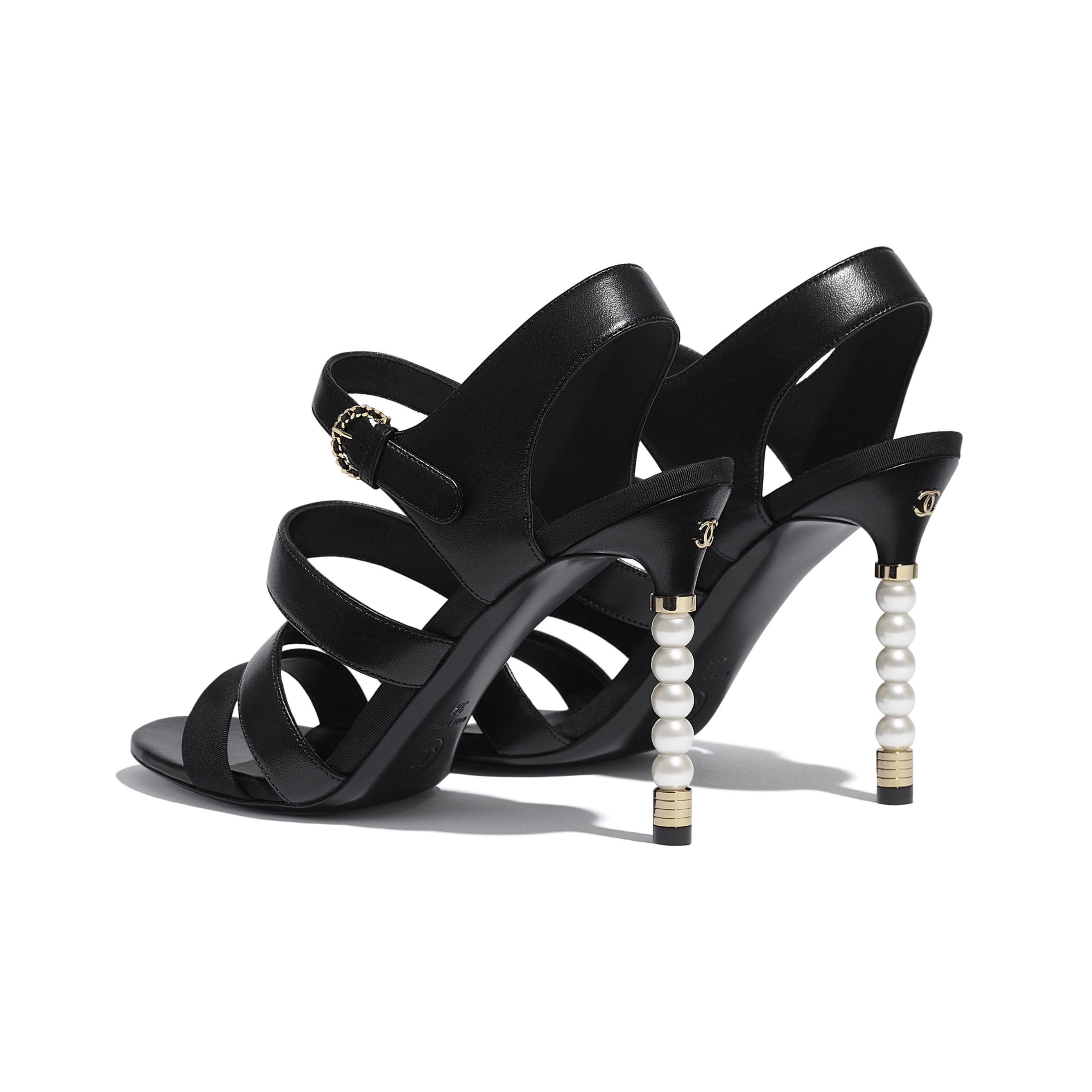 Sandals - Black - Lambskin & Grosgrain - CHANEL - Other view - see standard sized version