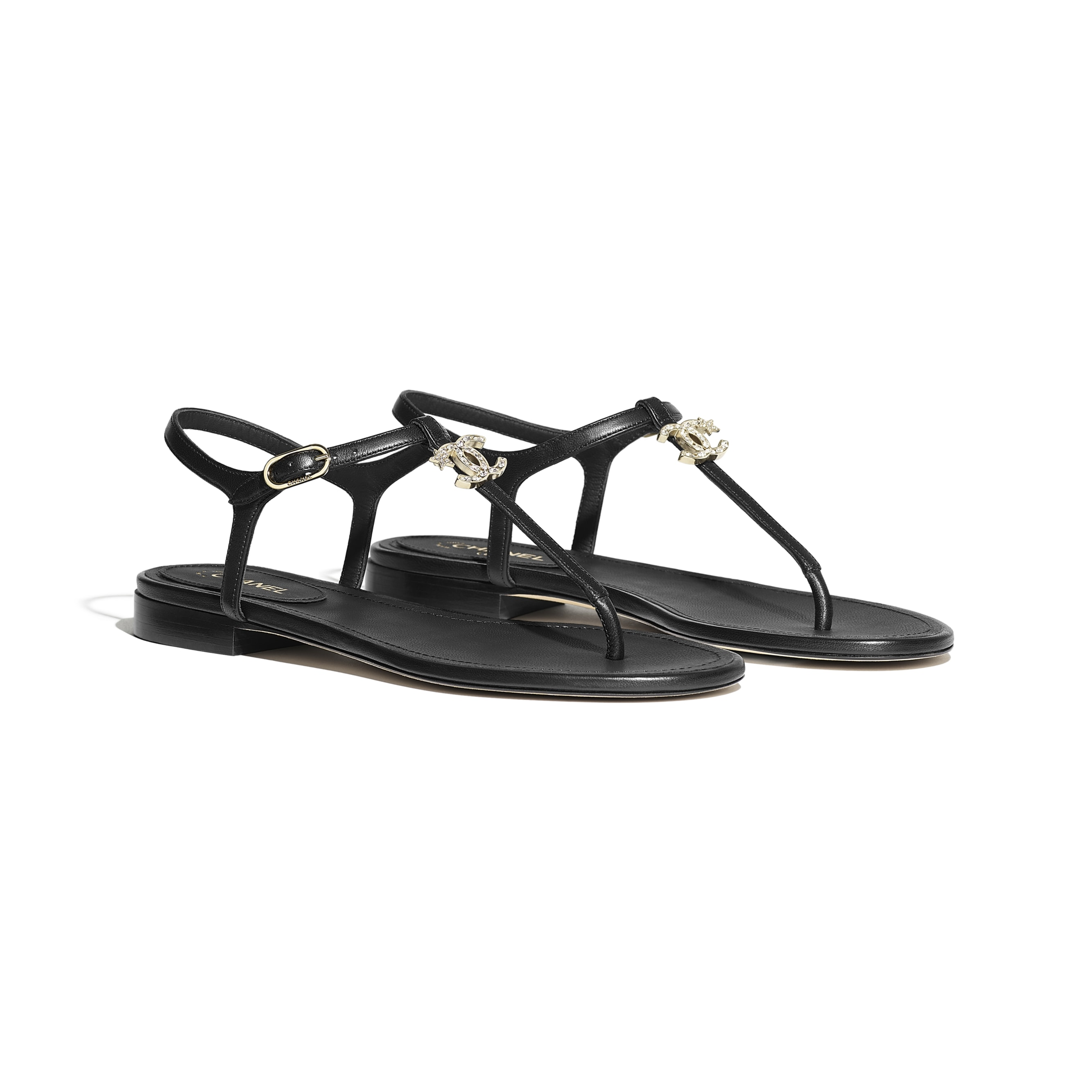 Sandals - Black - Lambskin - CHANEL - Alternative view - see standard sized version