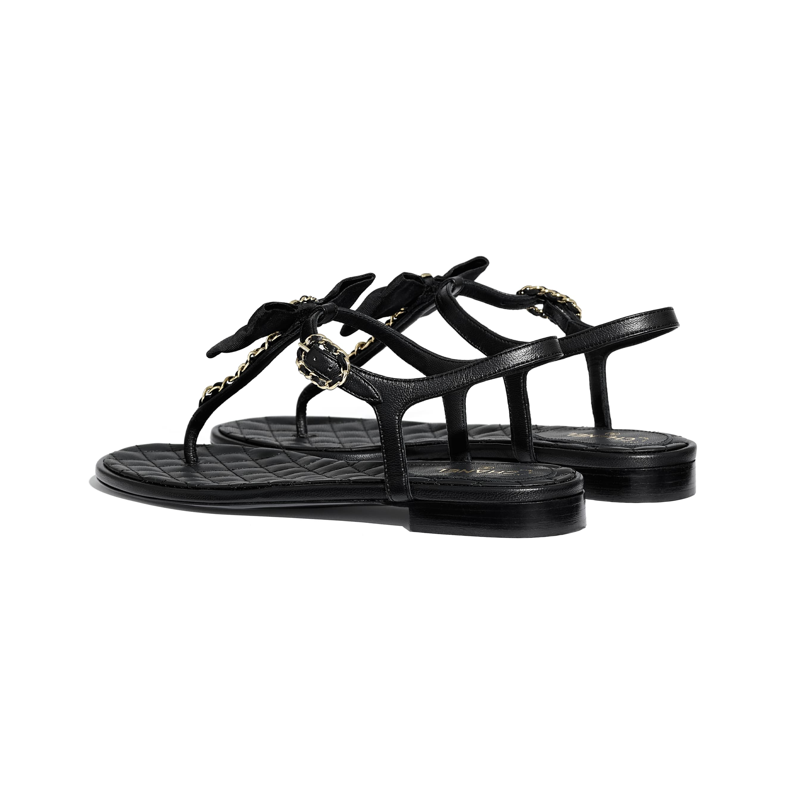 Sandálias - Black - Lambskin - CHANEL - Outra vista - ver a versão em tamanho standard