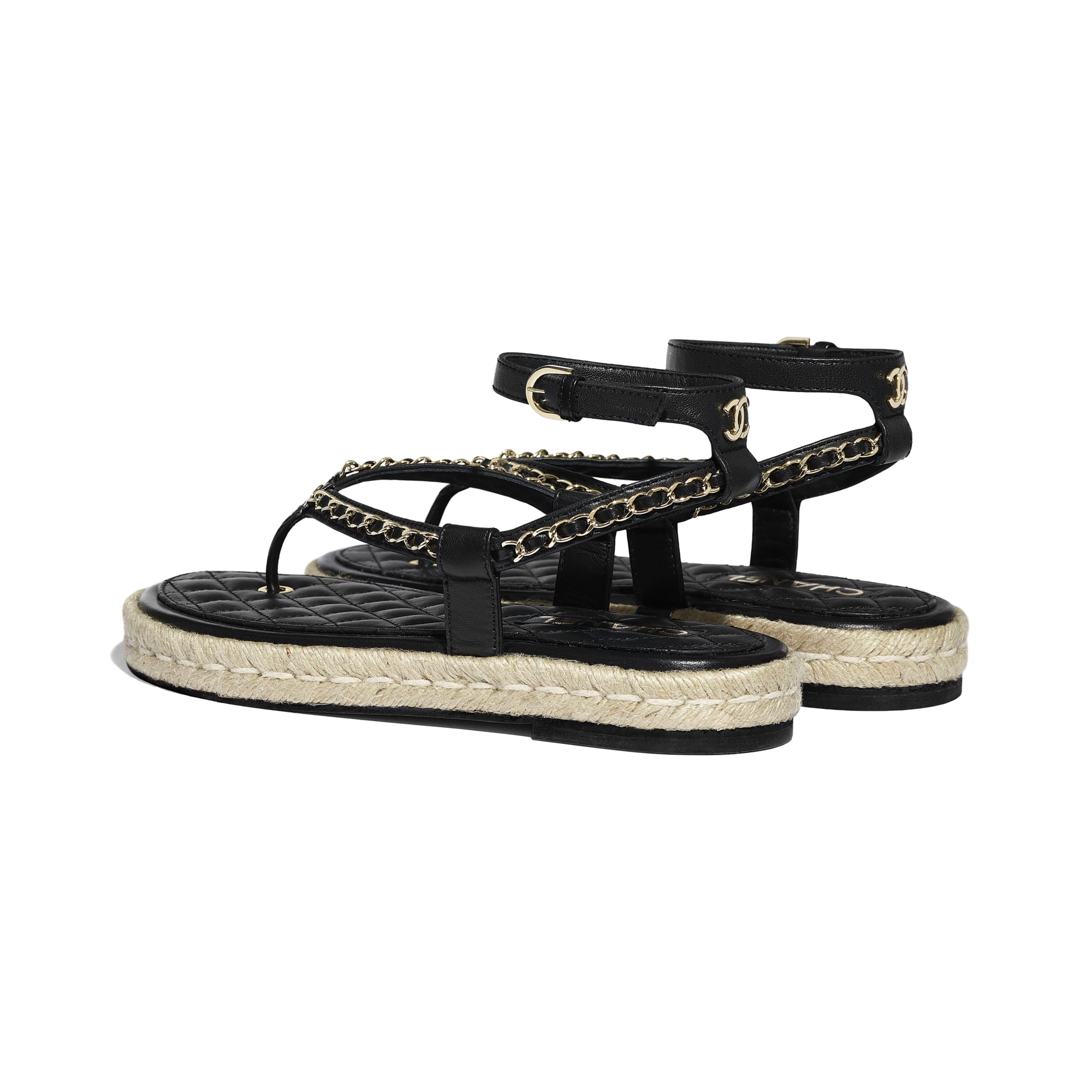 Sandals - Black - Lambskin - CHANEL - Other view - see standard sized version