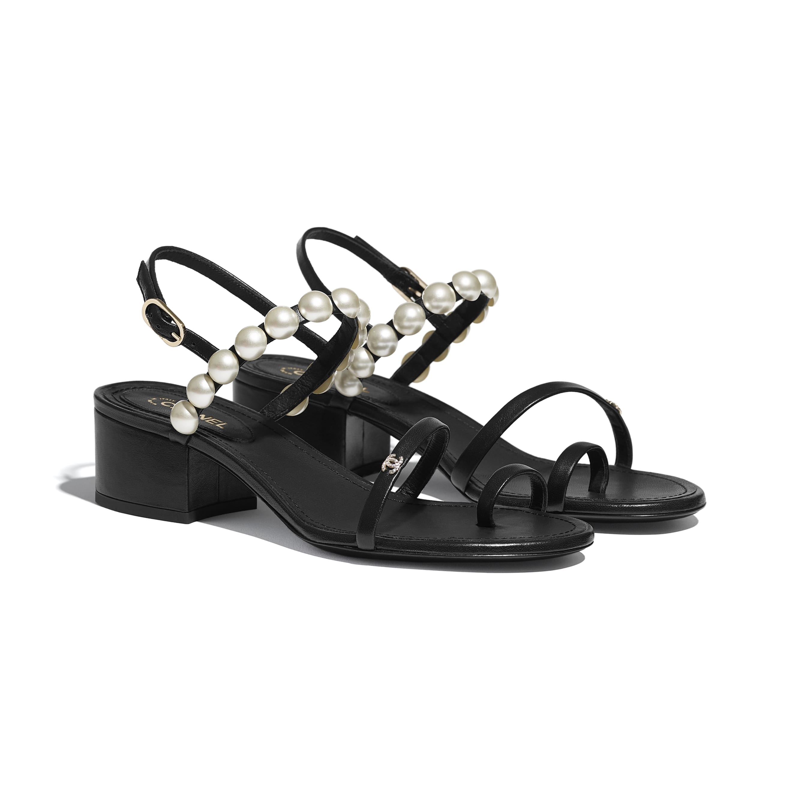 Sandals - Black - Lambskin & Pearls - CHANEL - Alternative view - see standard sized version