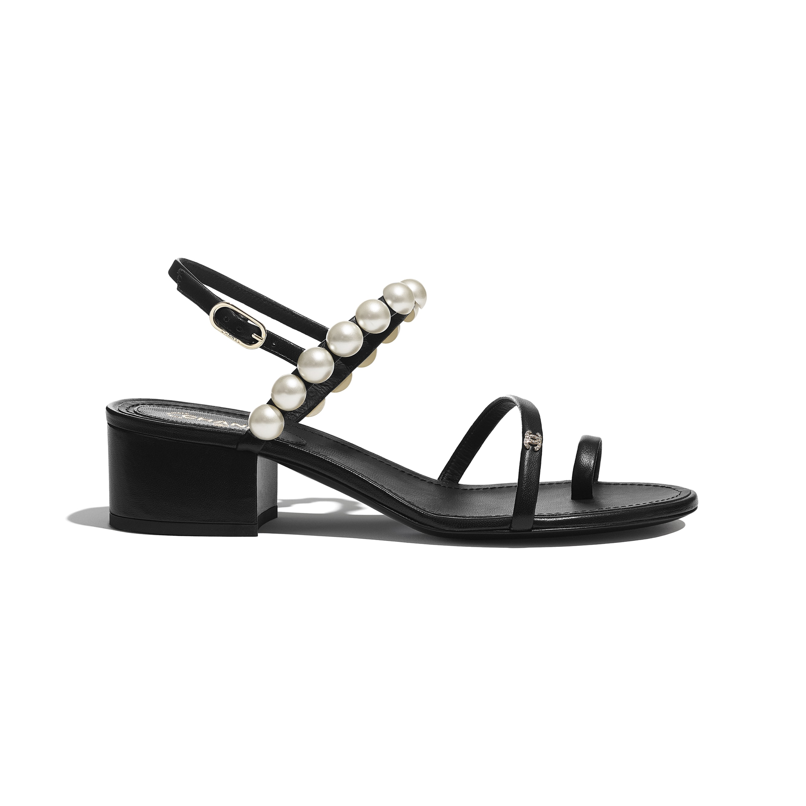 Sandals - Black - Lambskin & Pearls - CHANEL - Default view - see standard sized version