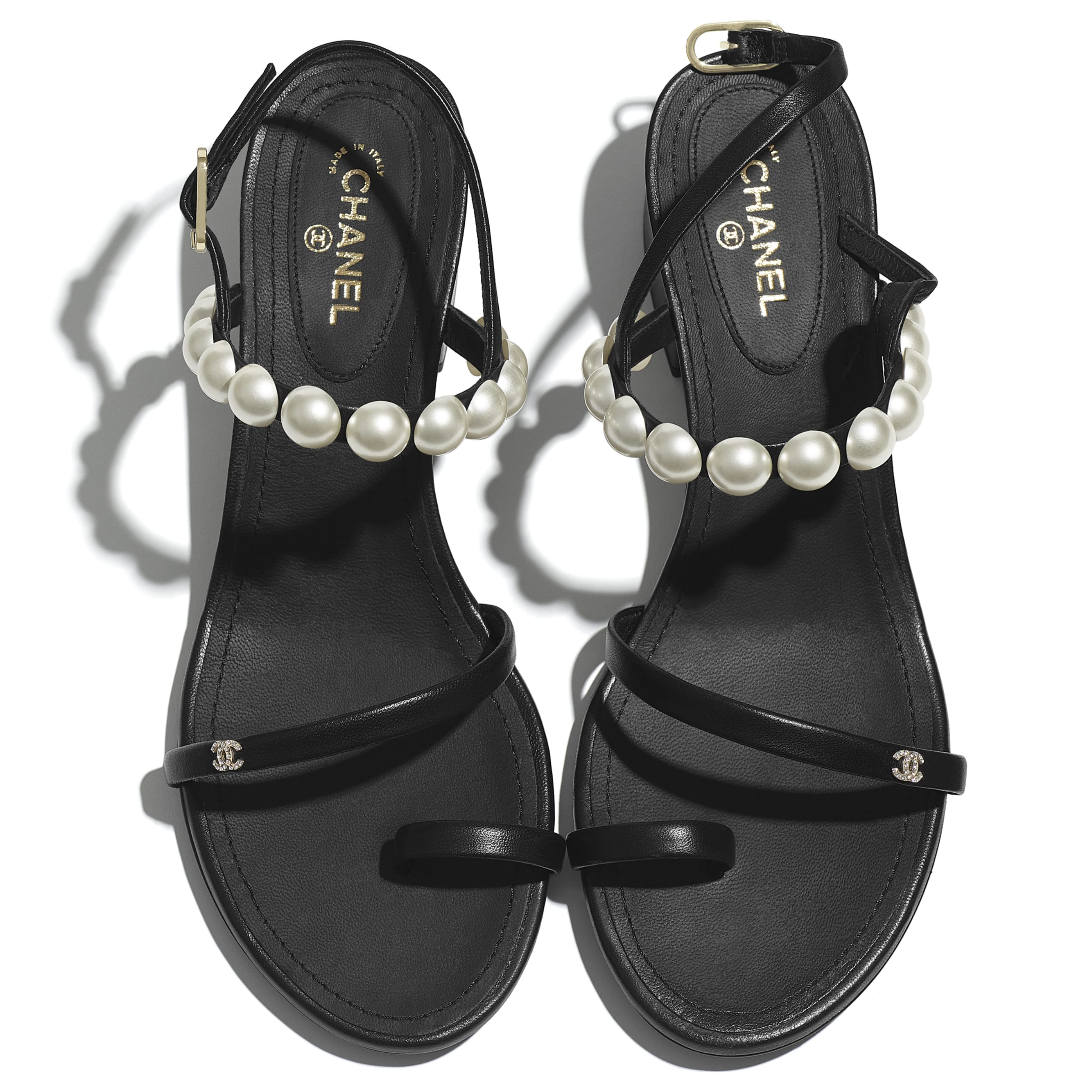 Sandals - Black - Lambskin & Pearls - CHANEL - Extra view - see standard sized version