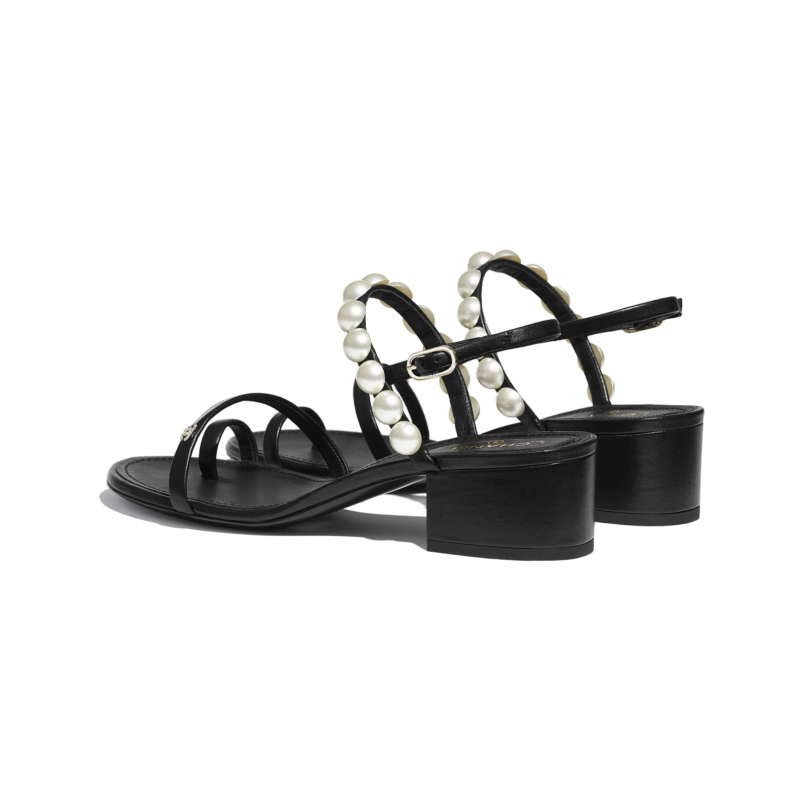 Sandals - Black - Lambskin & Pearls - CHANEL - Other view - see standard sized version