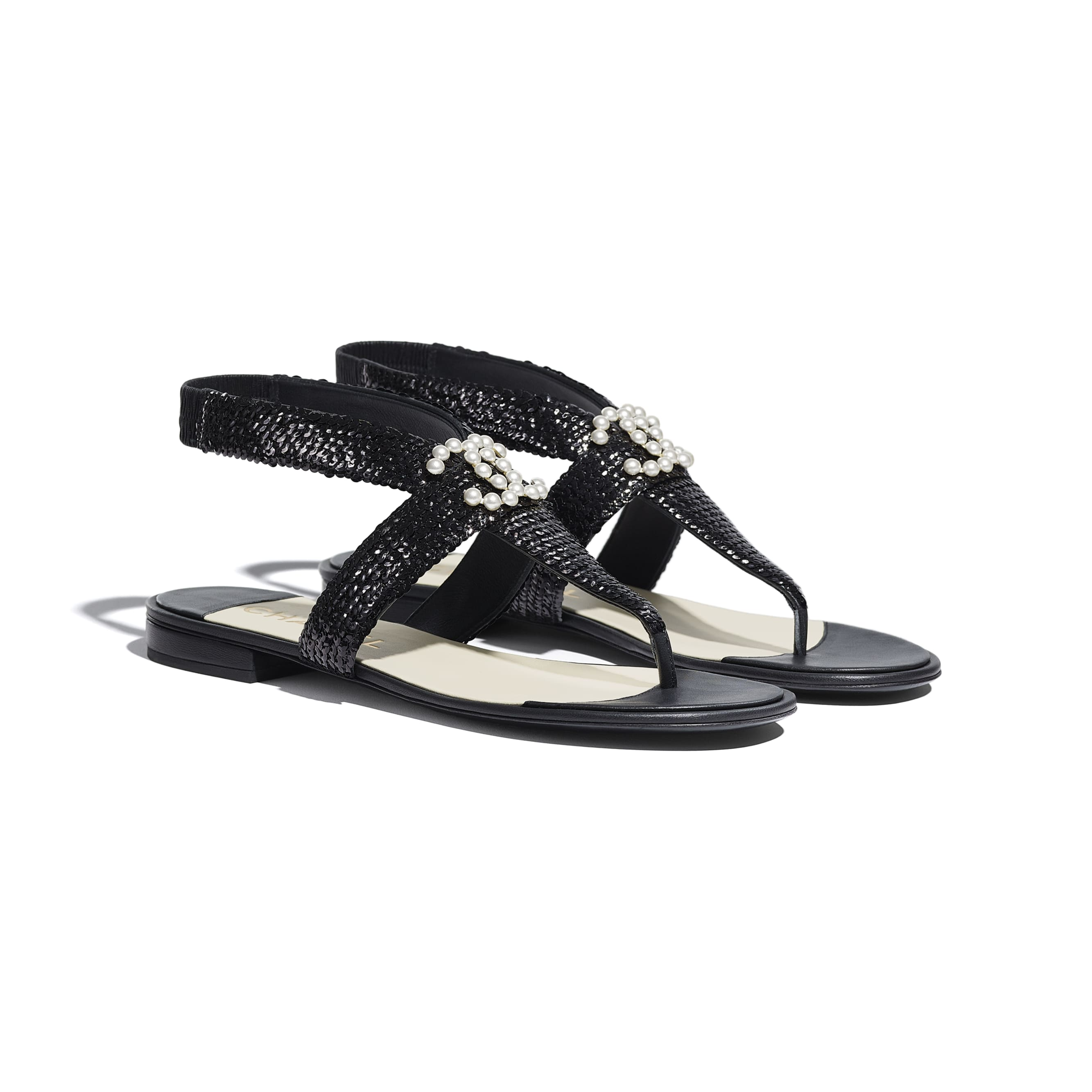 Sandals - Black - Lambskin & Sequins - CHANEL - Alternative view - see standard sized version