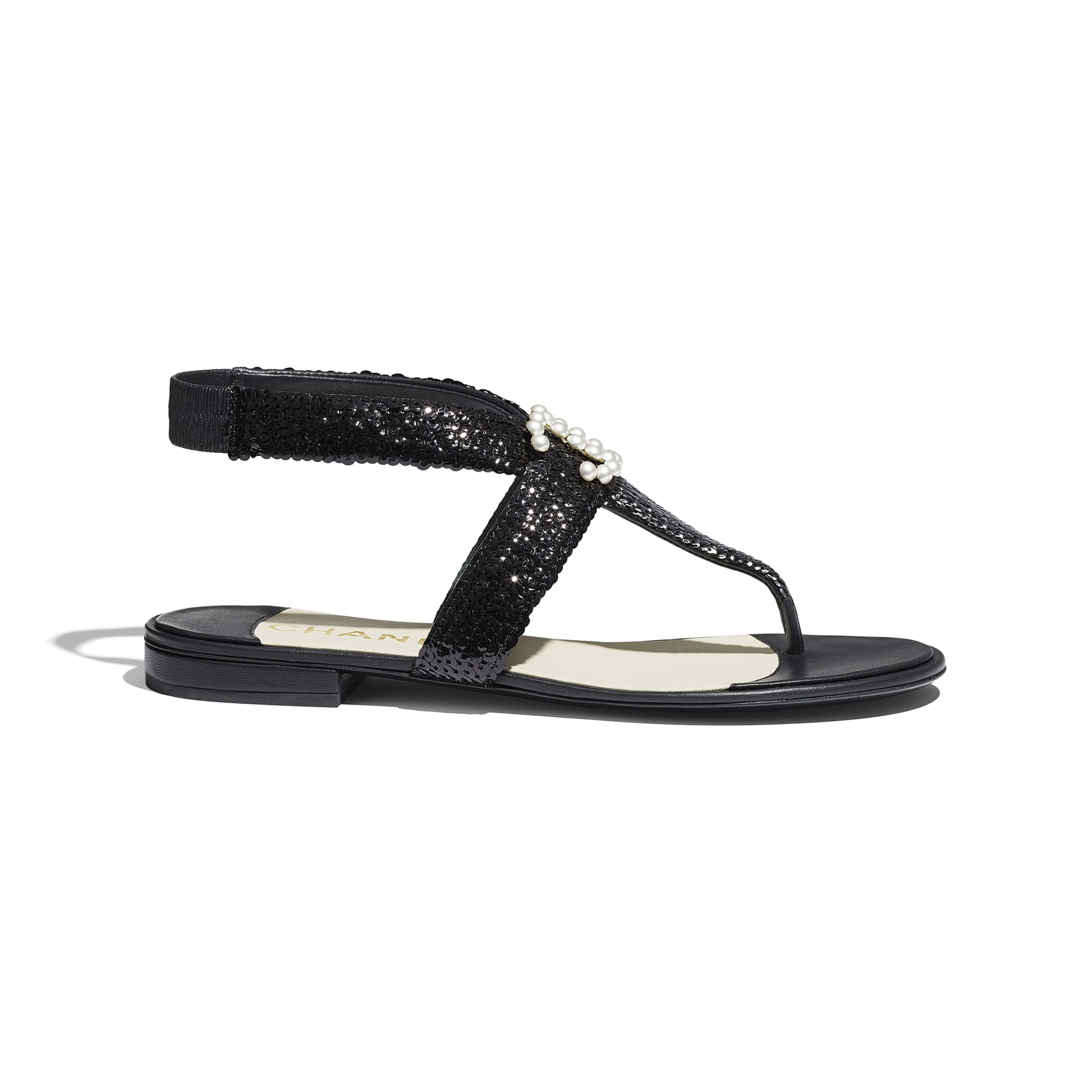 Sandals - Black - Lambskin & Sequins - CHANEL - Default view - see standard sized version