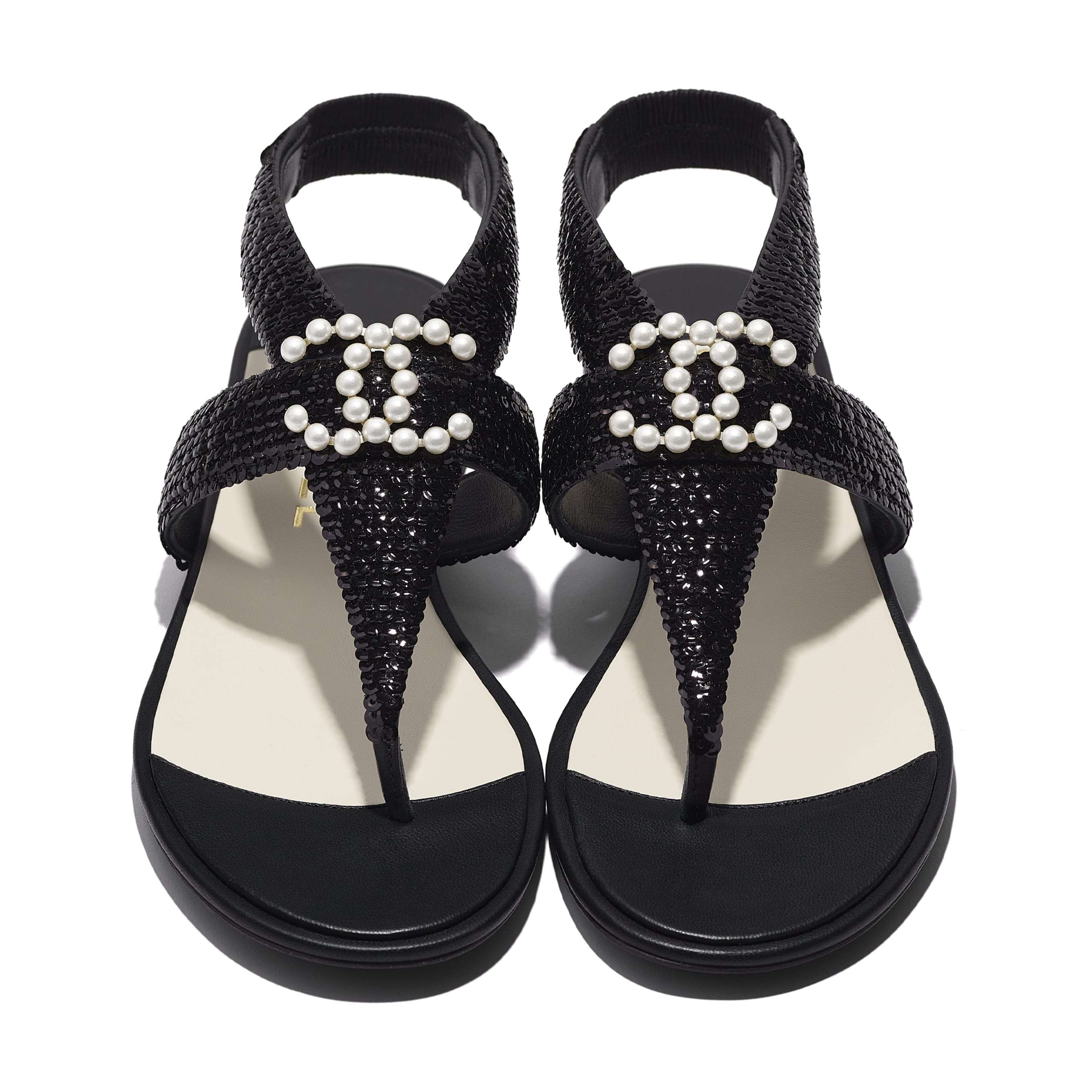 Sandals - Black - Lambskin & Sequins - CHANEL - Extra view - see standard sized version