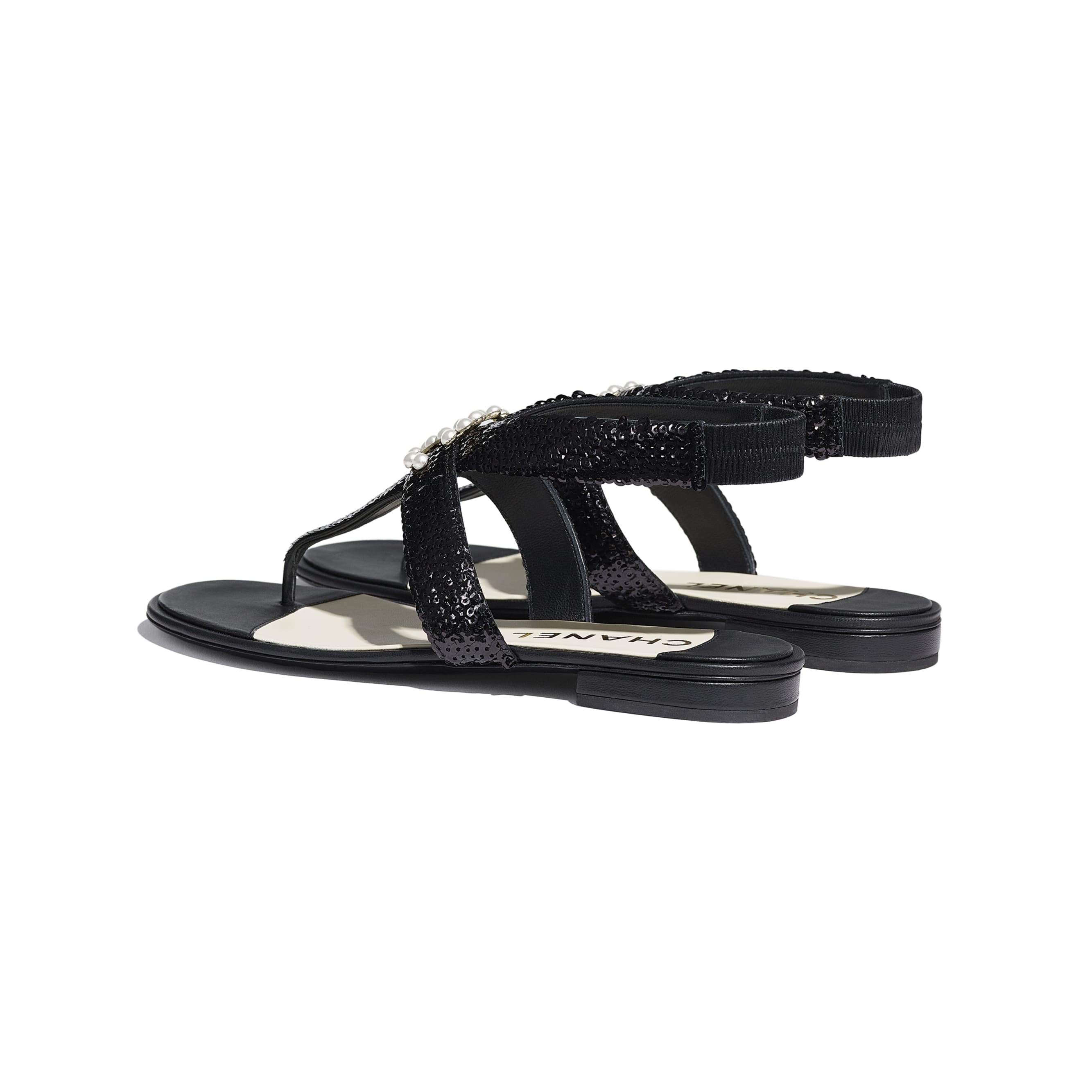 Sandals - Black - Lambskin & Sequins - CHANEL - Other view - see standard sized version