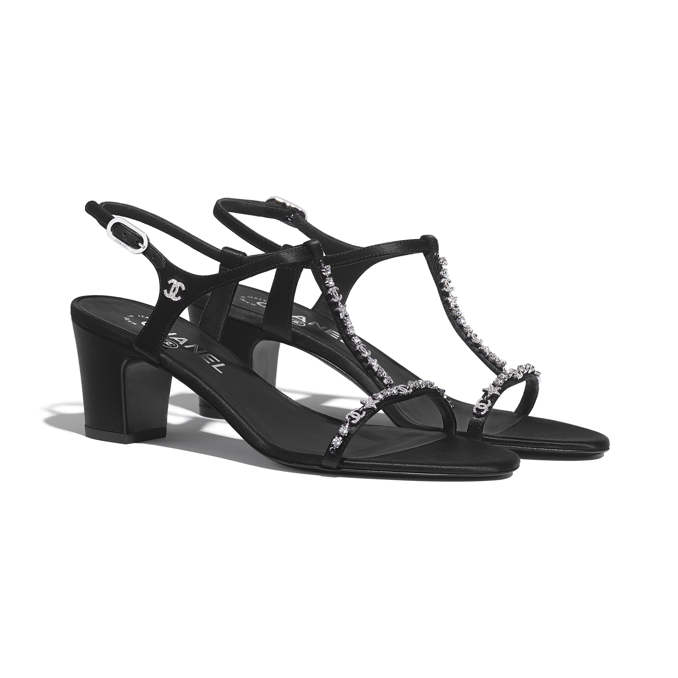 Sandals - Black - Satin & Diamanté - Alternative view - see standard sized version