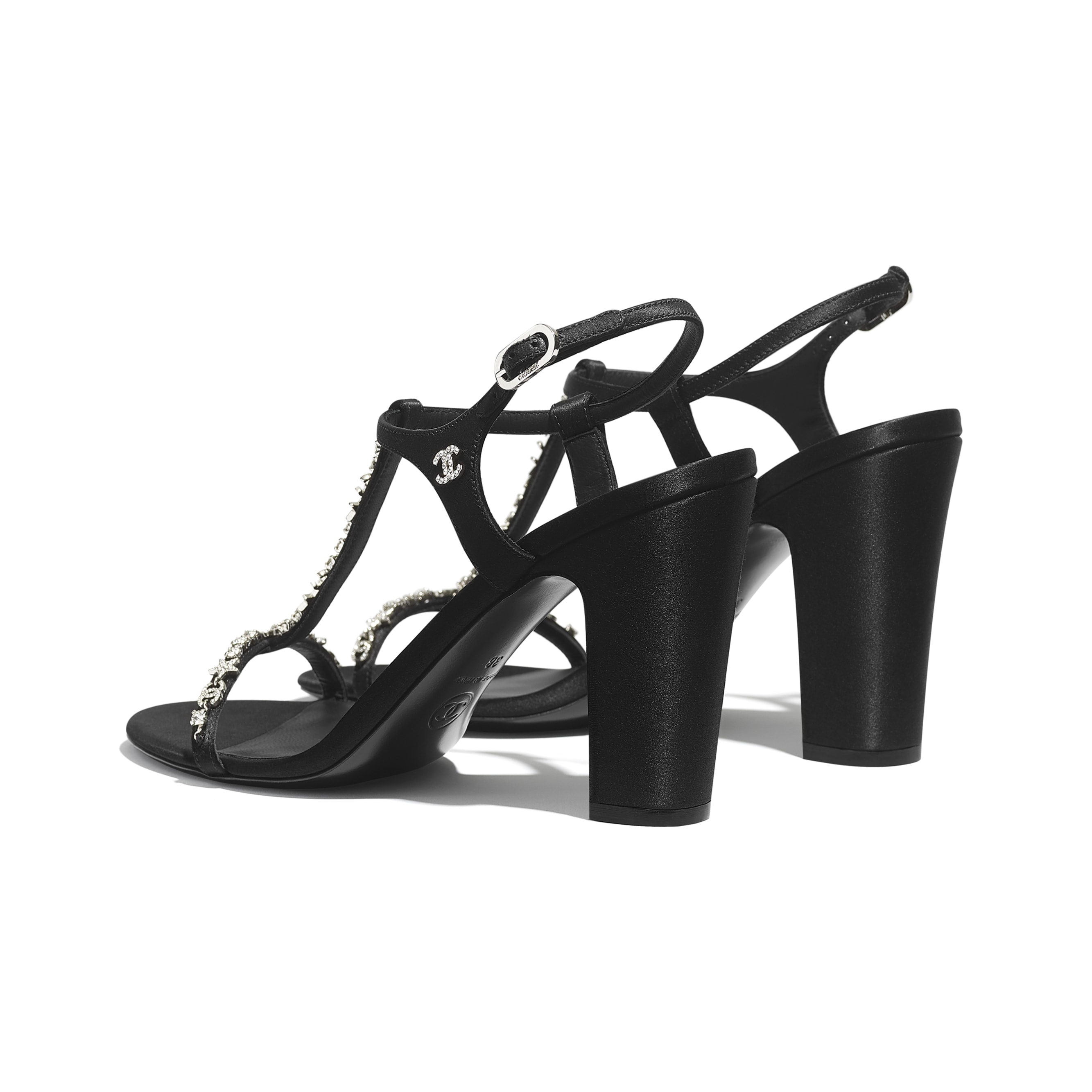 Sandals - Black - Satin & Strass - CHANEL - Other view - see standard sized version