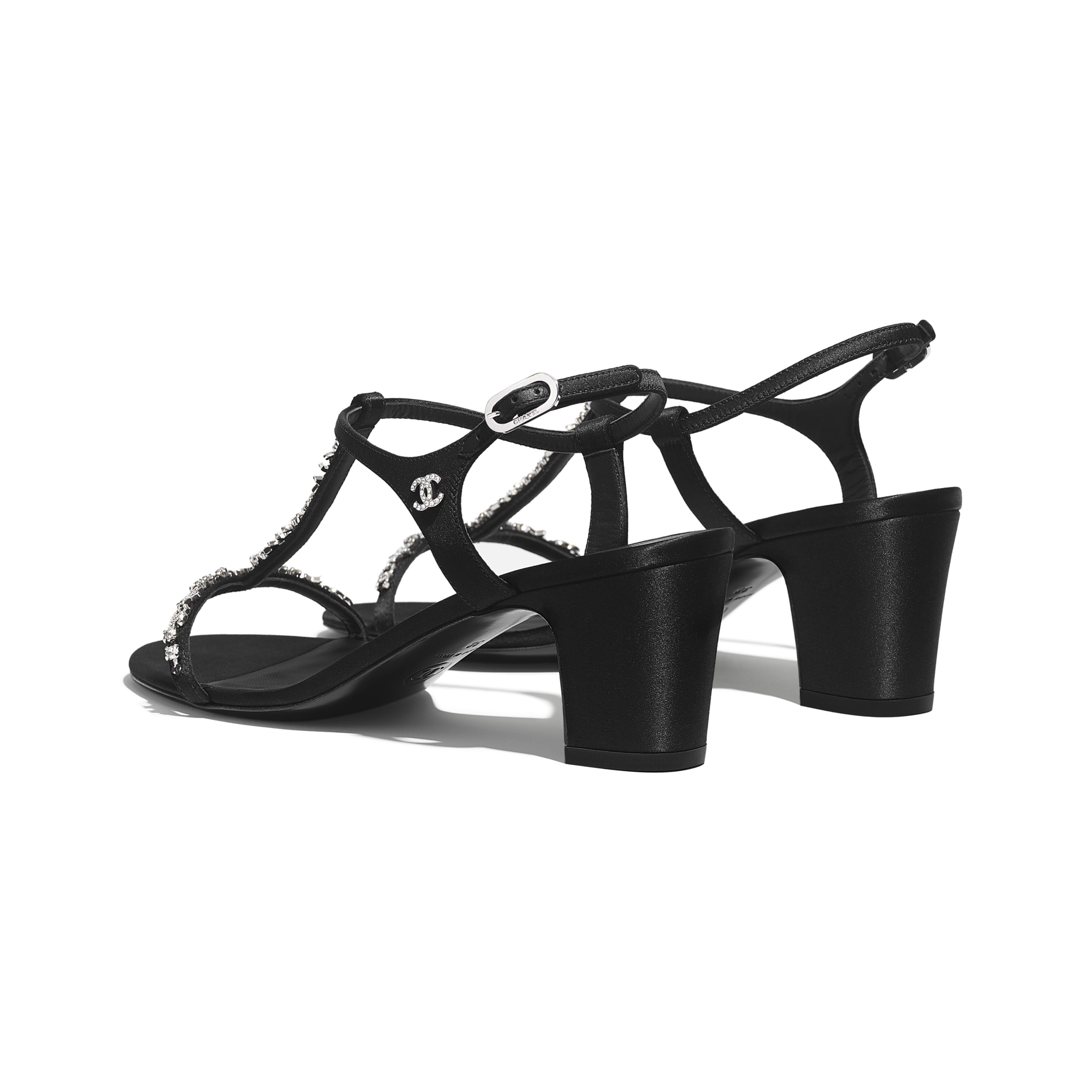 Sandals - Black - Satin & Diamanté - Other view - see standard sized version