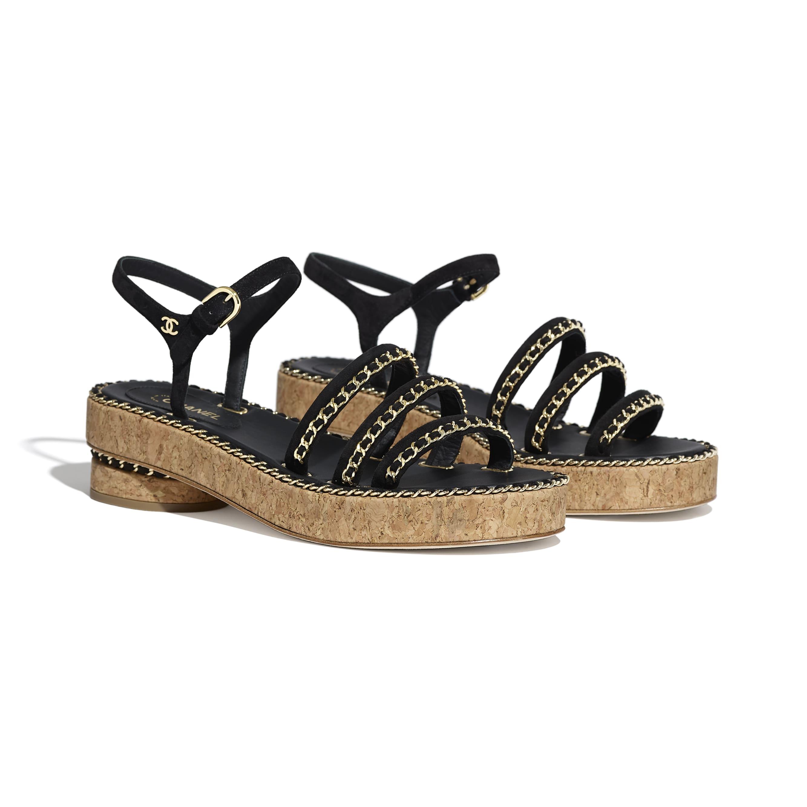 Sandals - Black - Suede Calfskin - Alternative view - see standard sized version