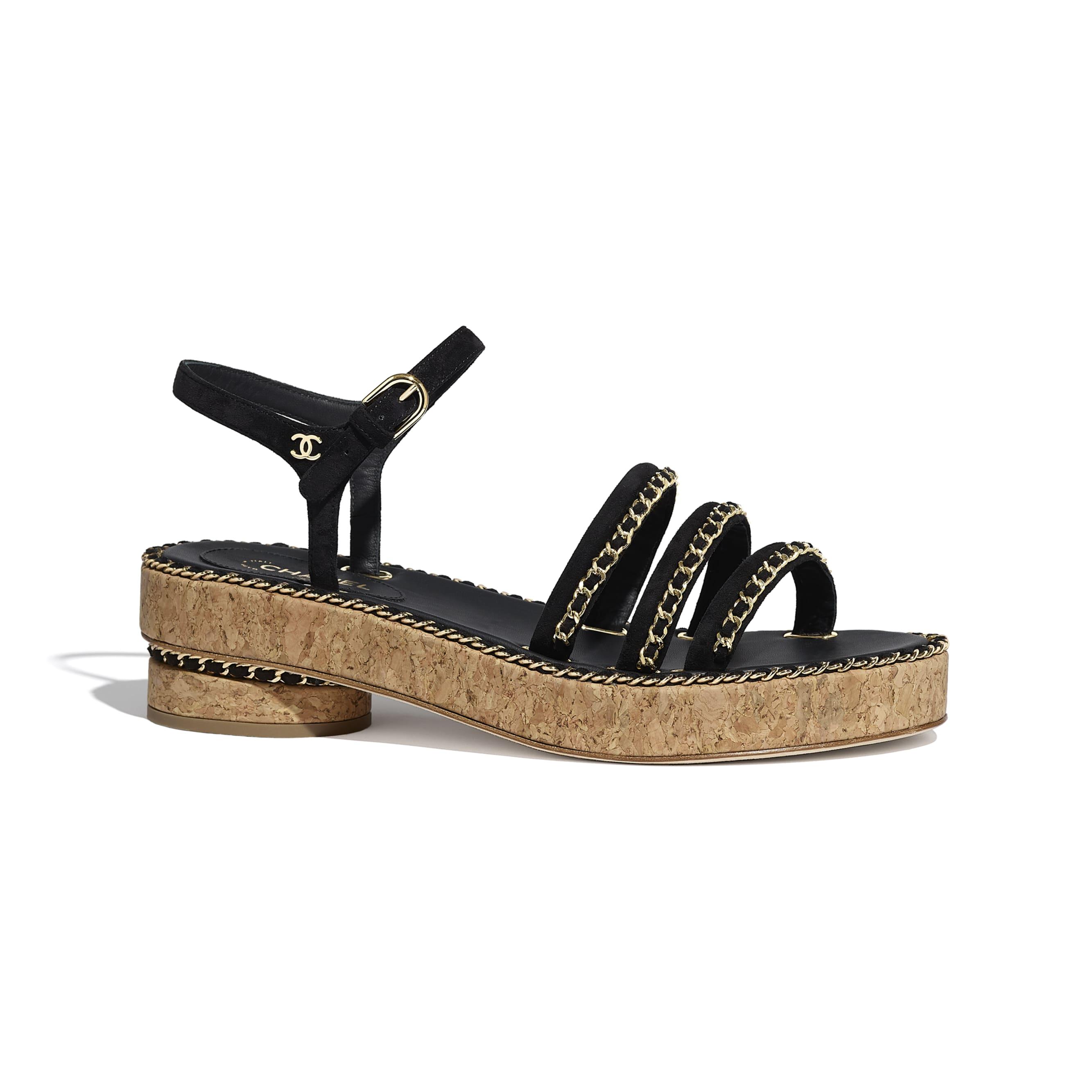 Sandals - Black - Suede Calfskin - Default view - see standard sized version