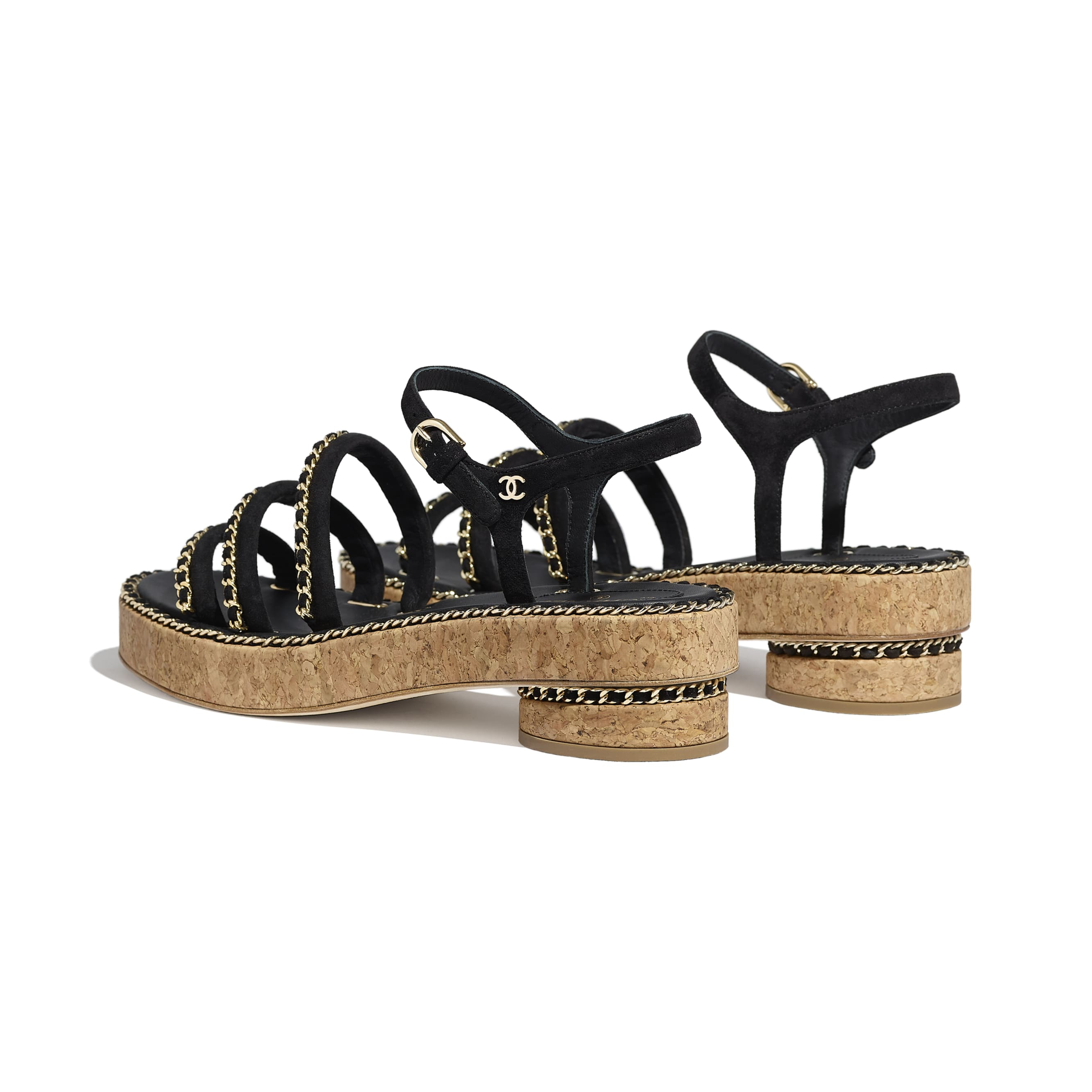 Sandals - Black - Suede Calfskin - CHANEL - Other view - see standard sized version