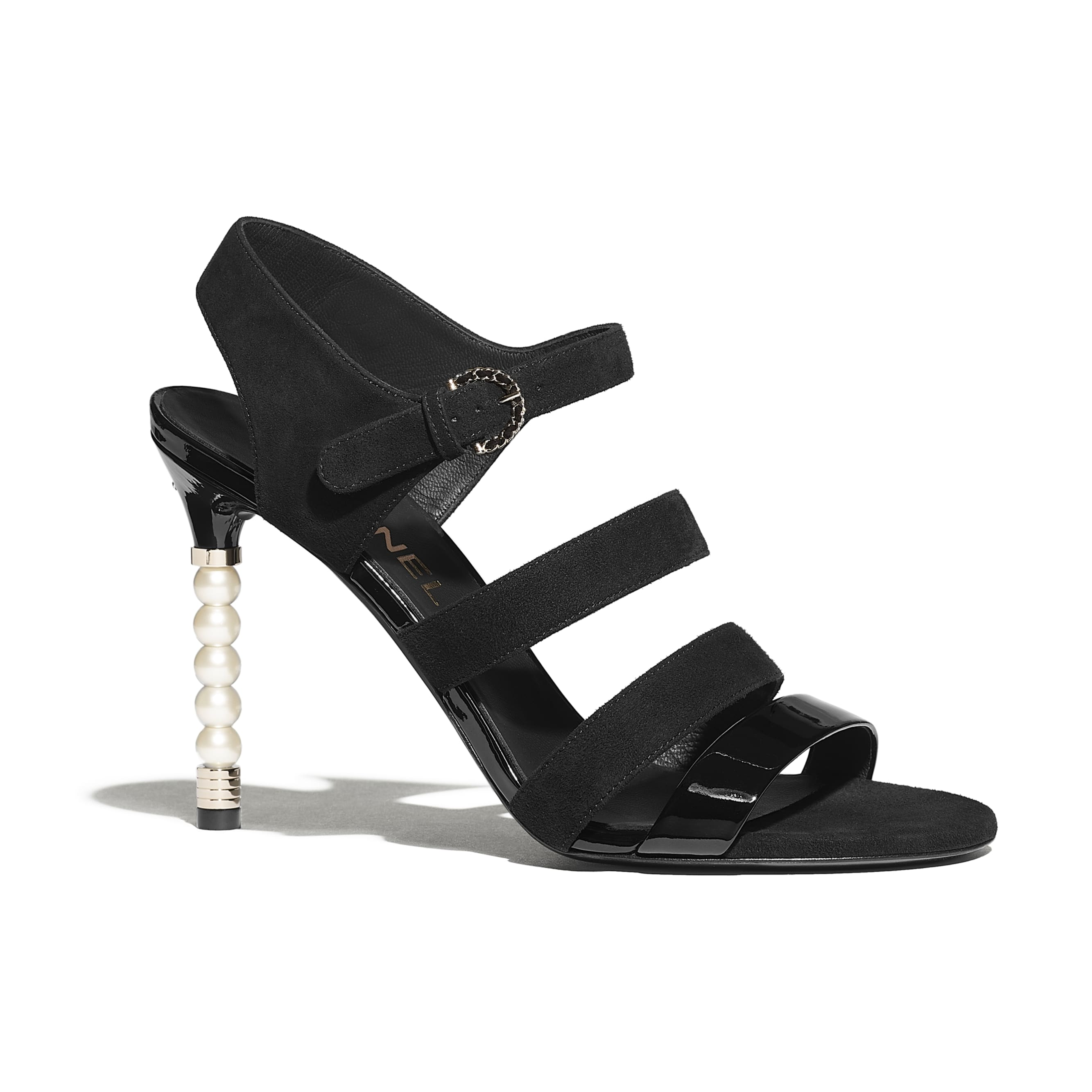 Sandals - Black - Suede Goatskin & Patent Calfskin - CHANEL - Default view - see standard sized version