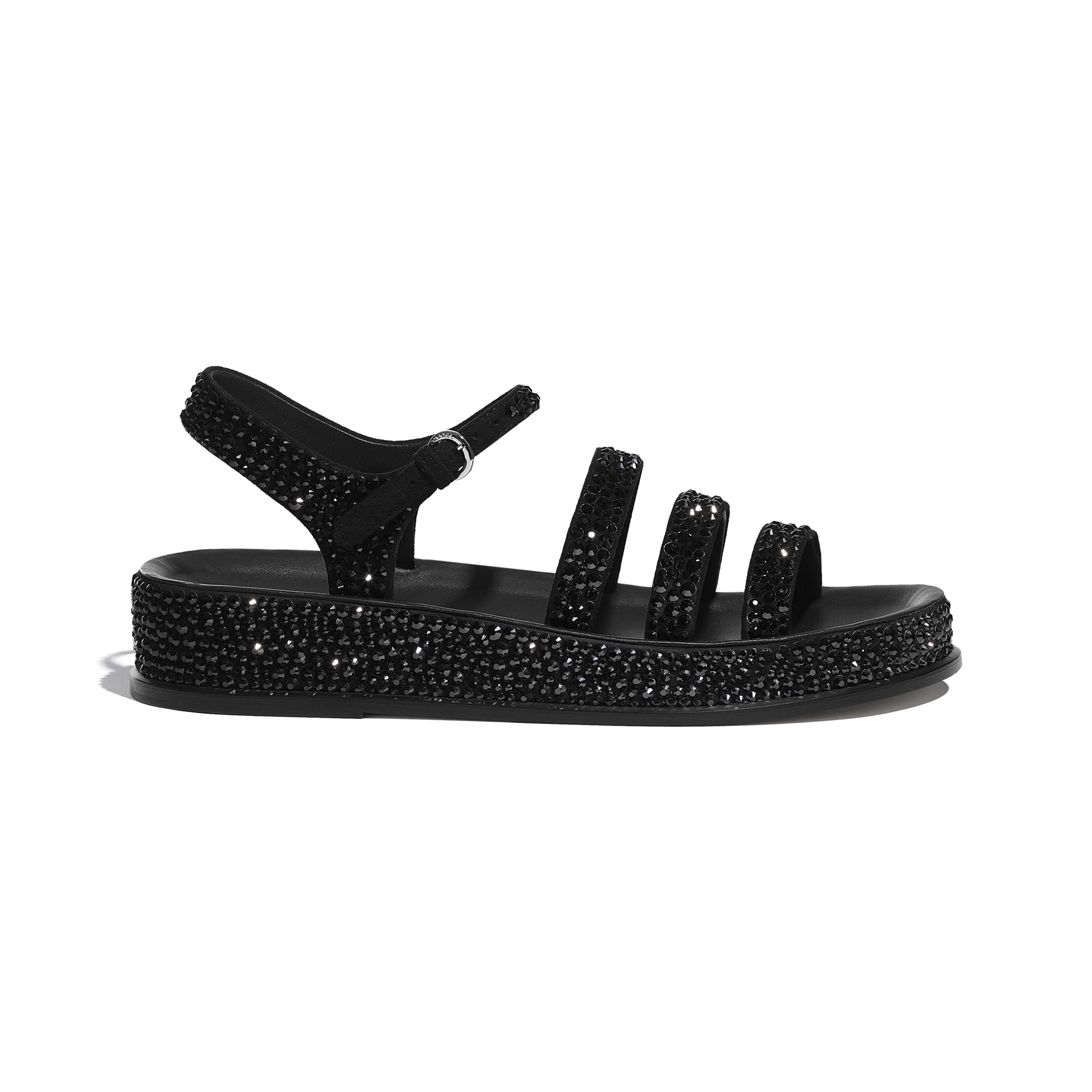 Sandals - Black - Suede Goatskin & Strass - CHANEL - Default view - see standard sized version