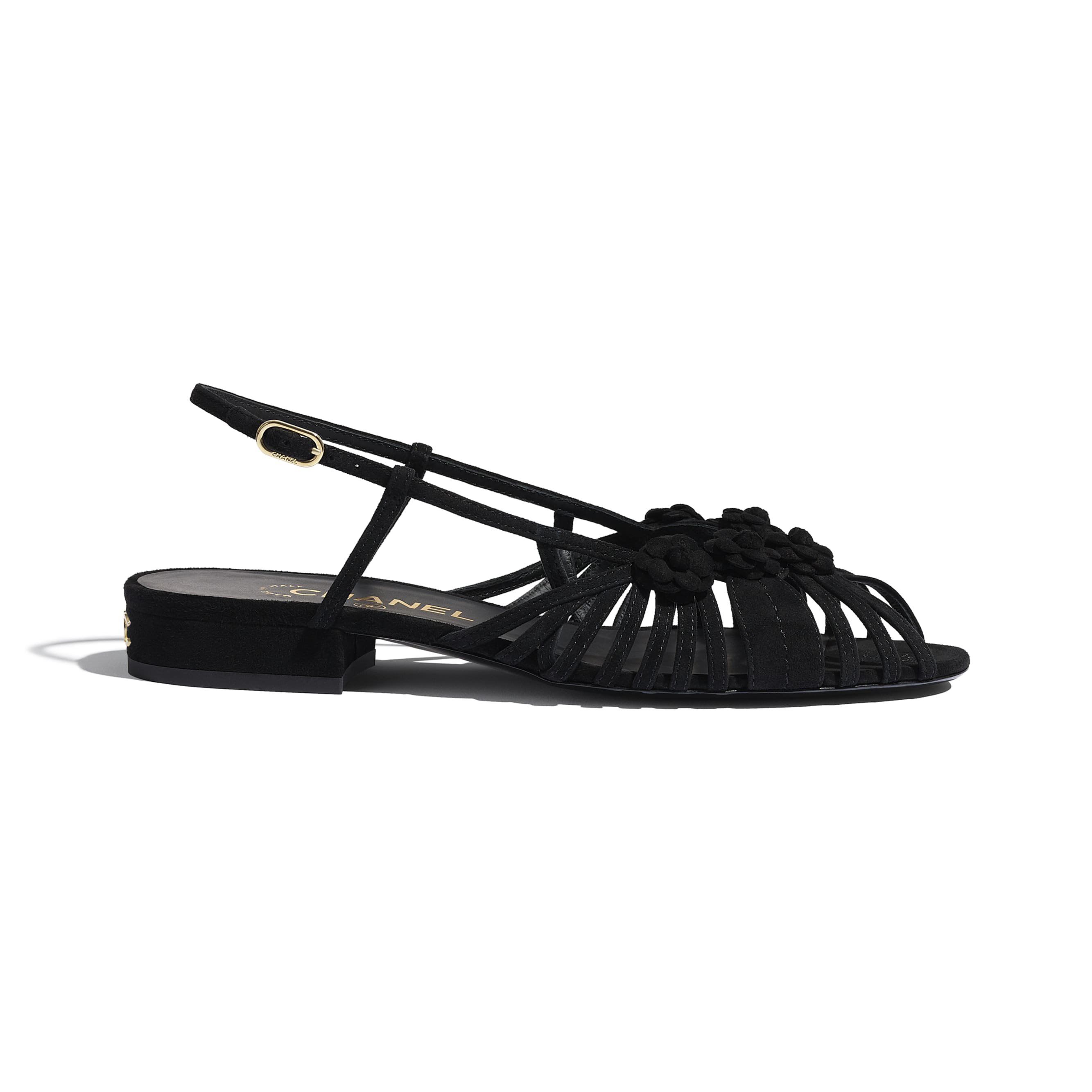 Sandals - Black - Suede Kidskin - CHANEL - Default view - see standard sized version