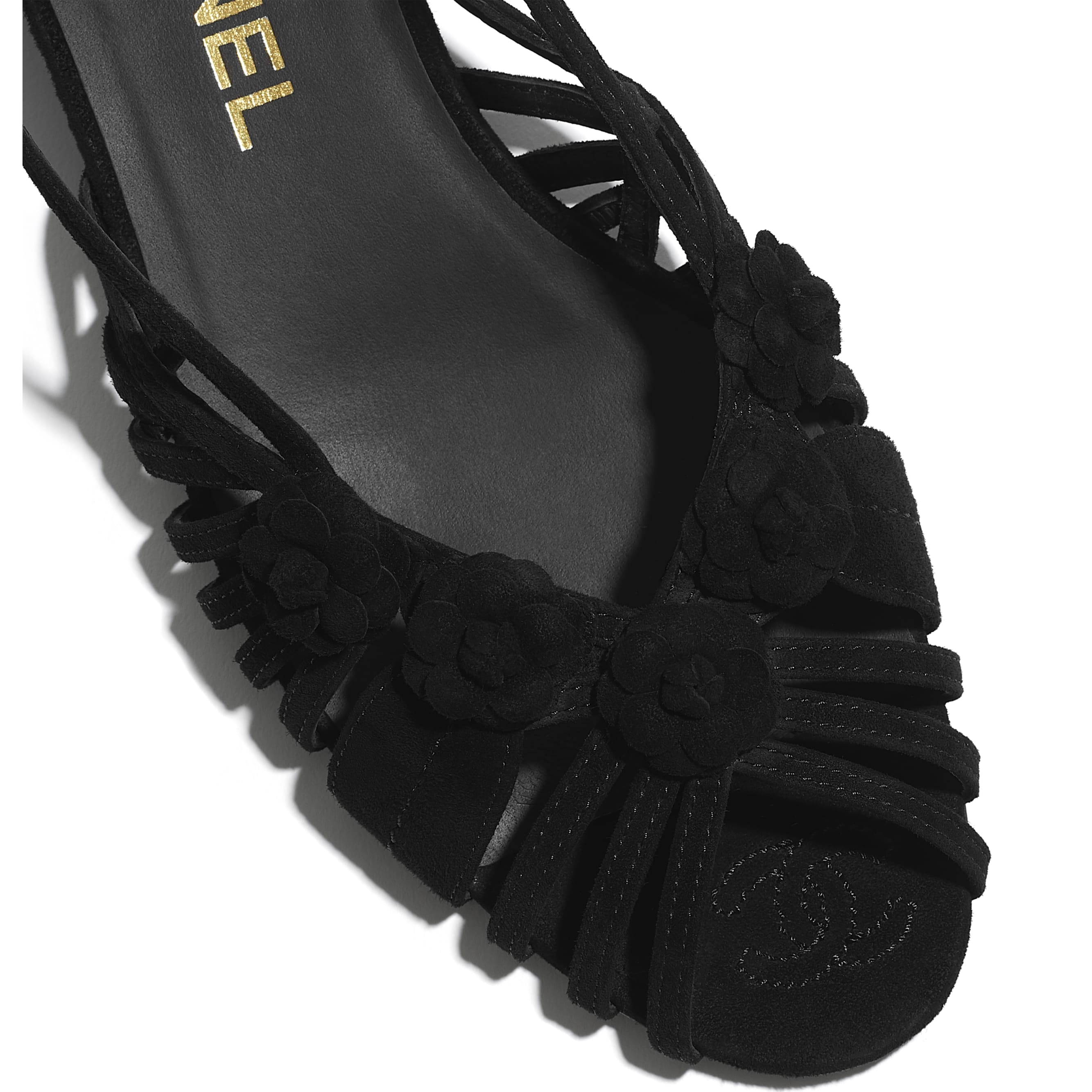 Sandals - Black - Suede Kidskin - CHANEL - Extra view - see standard sized version