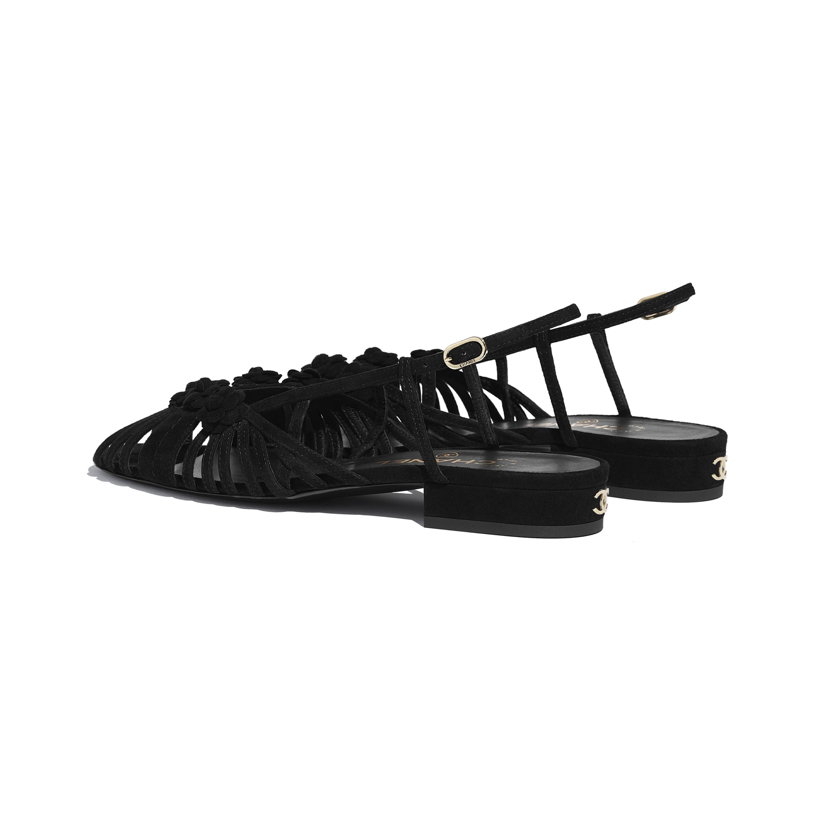 Sandals - Black - Suede Kidskin - CHANEL - Other view - see standard sized version