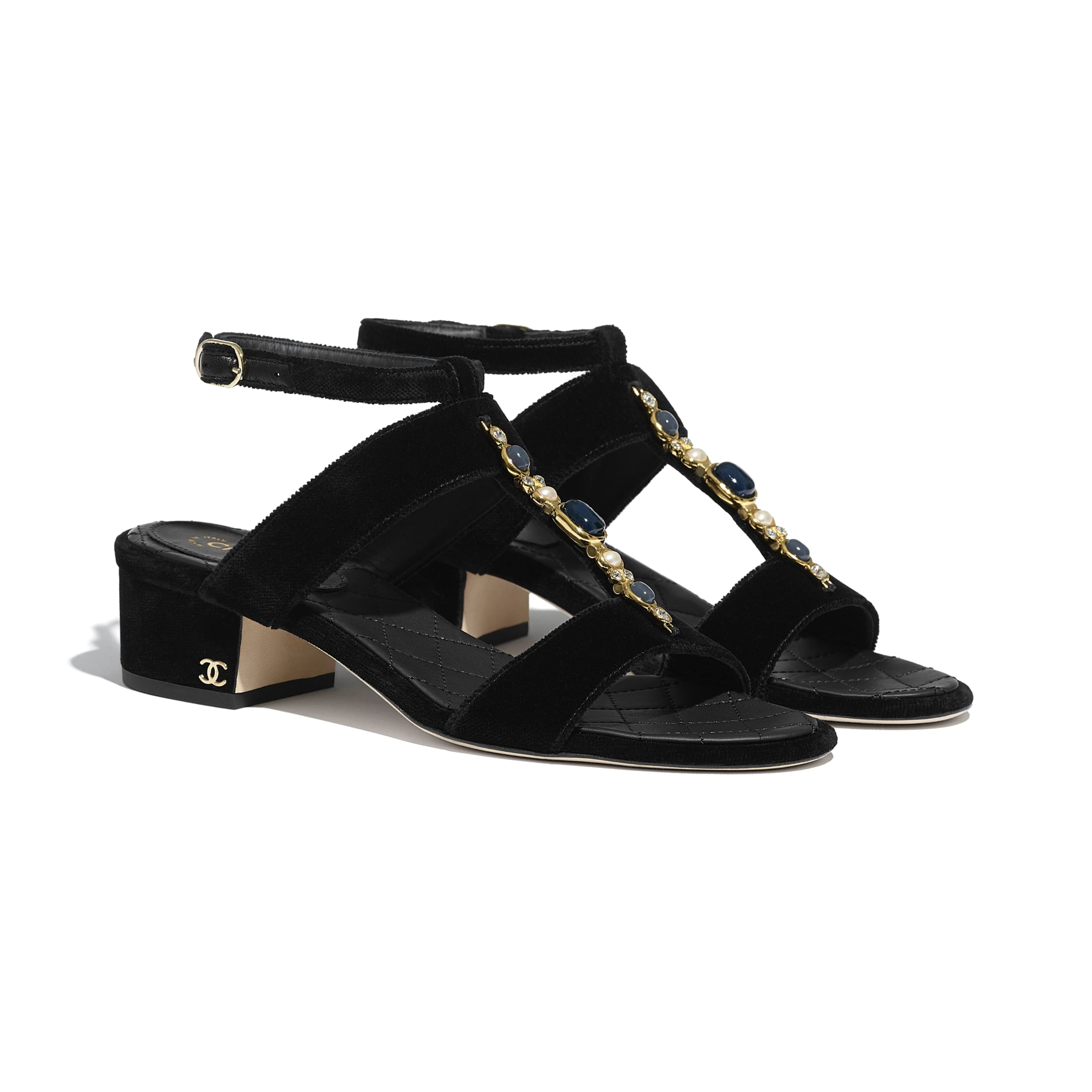 Sandals - Black - Velvet - CHANEL - Alternative view - see standard sized version