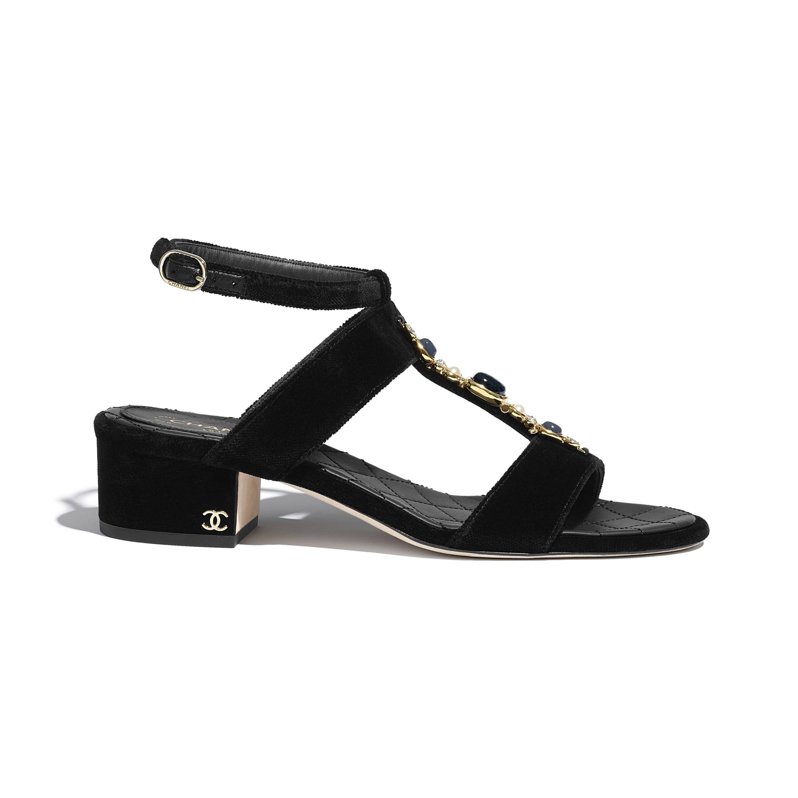 Sandals - Black - Velvet - CHANEL - Default view - see standard sized version