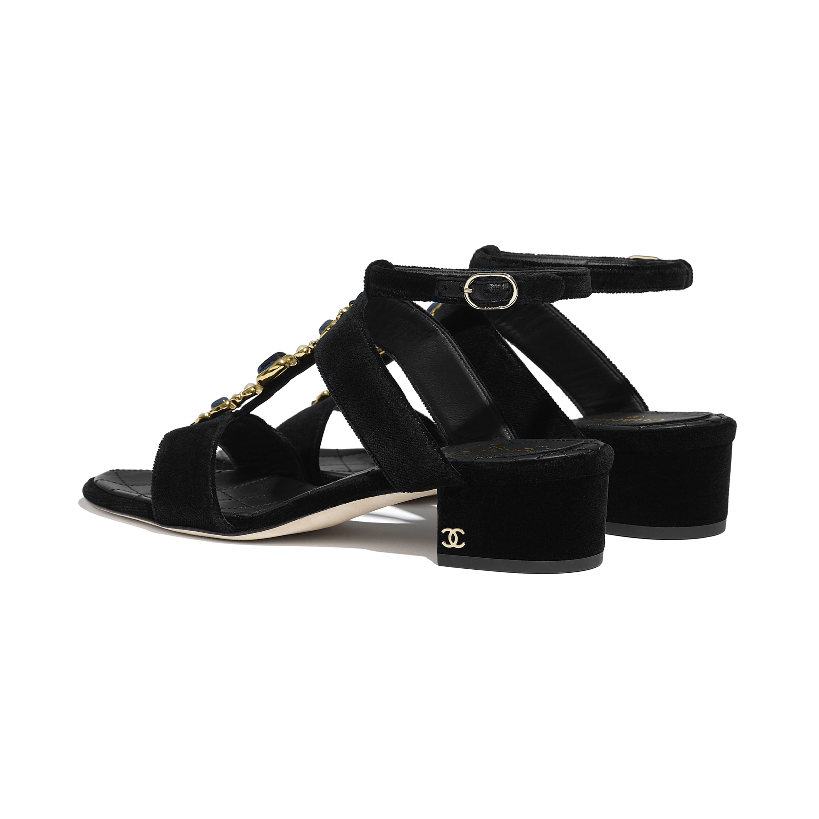 Sandals - Black - Velvet - CHANEL - Other view - see standard sized version