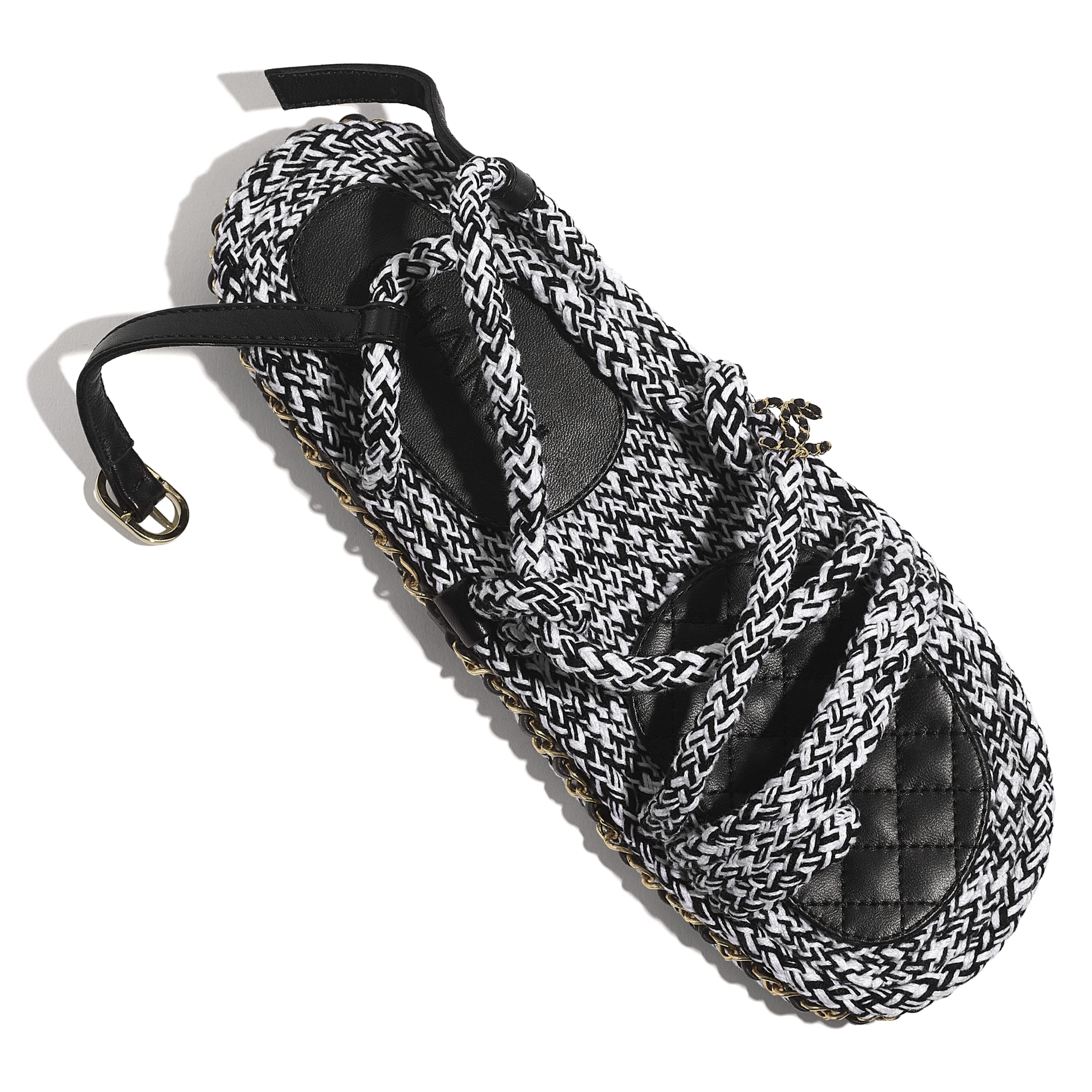 Sandals - Black & White - Cord - CHANEL - Extra view - see standard sized version