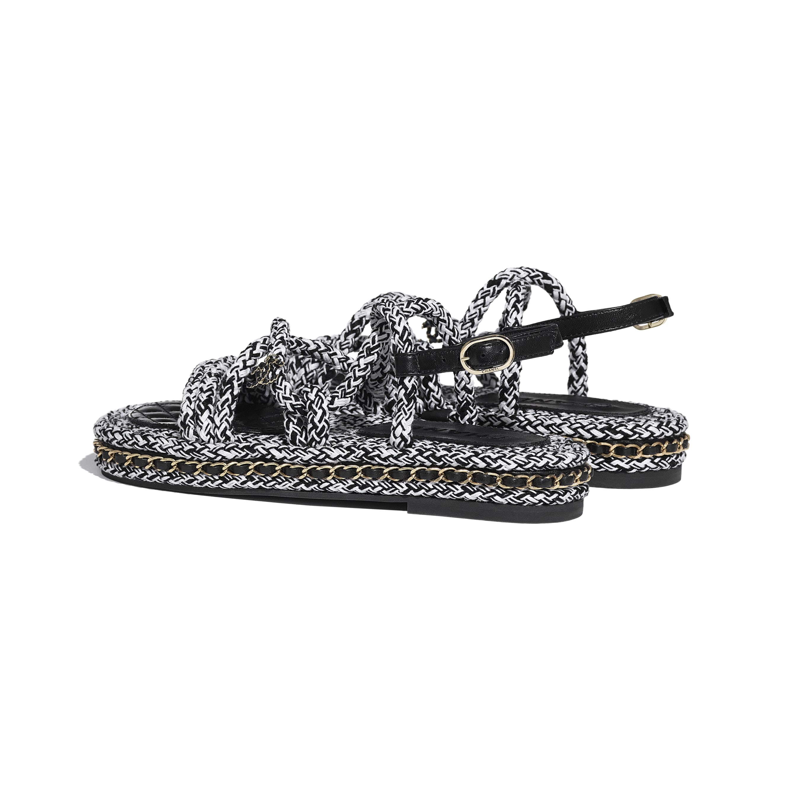 Sandals - Black & White - Cord - CHANEL - Other view - see standard sized version