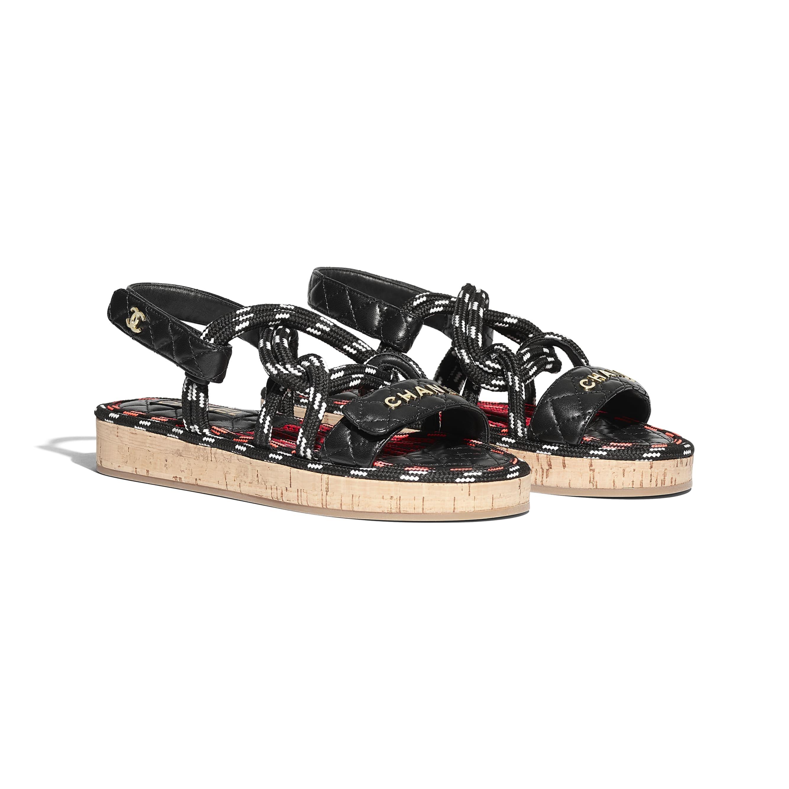 Sandały - Kolor czarny i biały - Sznurek i skóra jagnięca  - CHANEL - Widok alternatywny – zobacz w standardowym rozmiarze