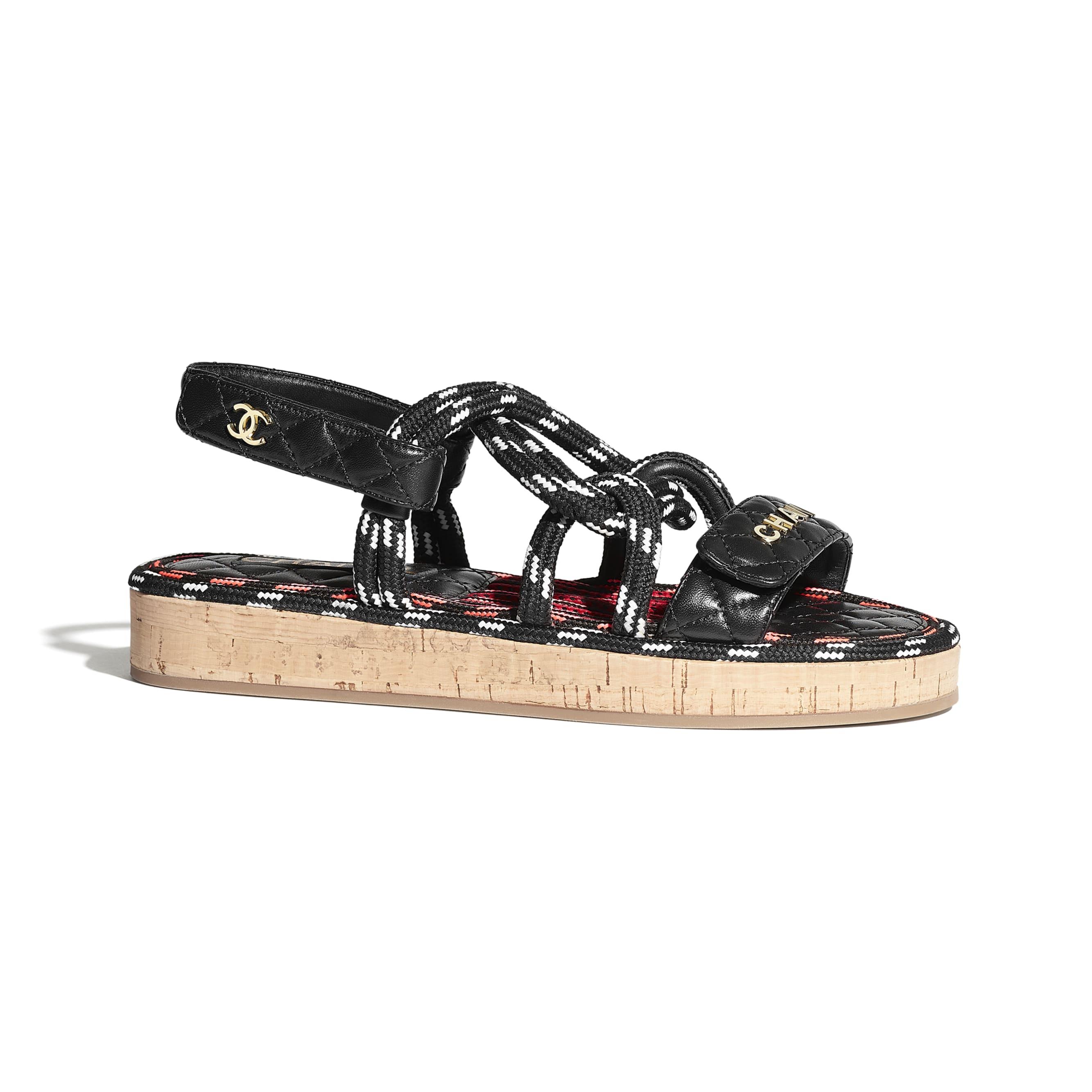Sandały - Kolor czarny i biały - Sznurek i skóra jagnięca  - CHANEL - Widok domyślny – zobacz w standardowym rozmiarze