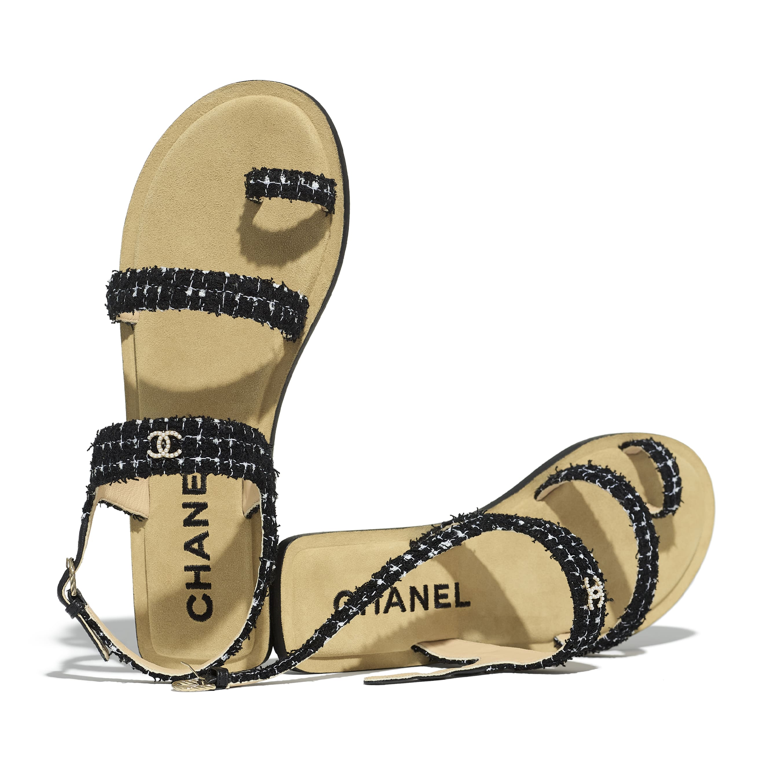 Sandals - Black & White - Tweed - CHANEL - Extra view - see standard sized version