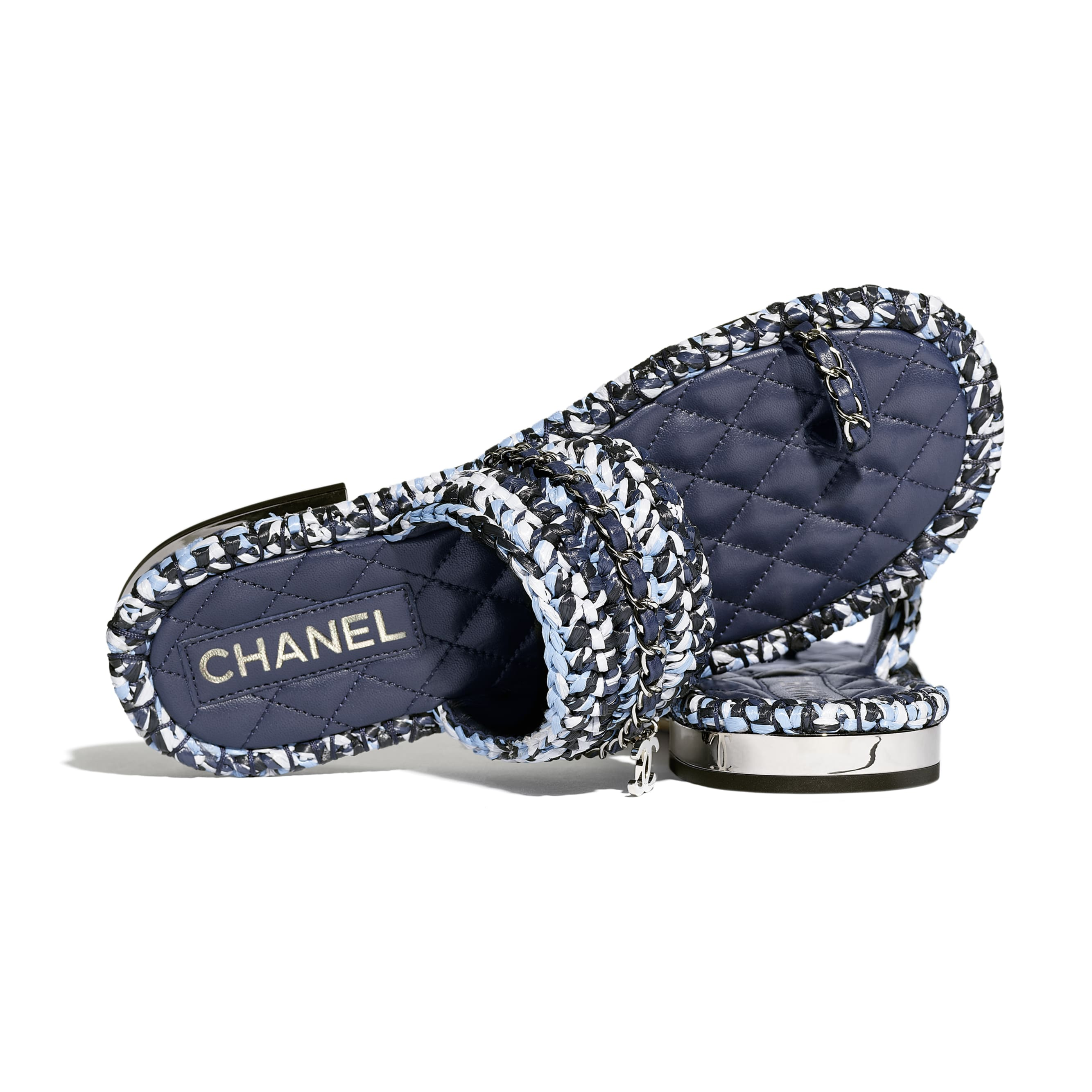 Sandals - Blue, Black & White - Raffia & Lambskin - CHANEL - Extra view - see standard sized version
